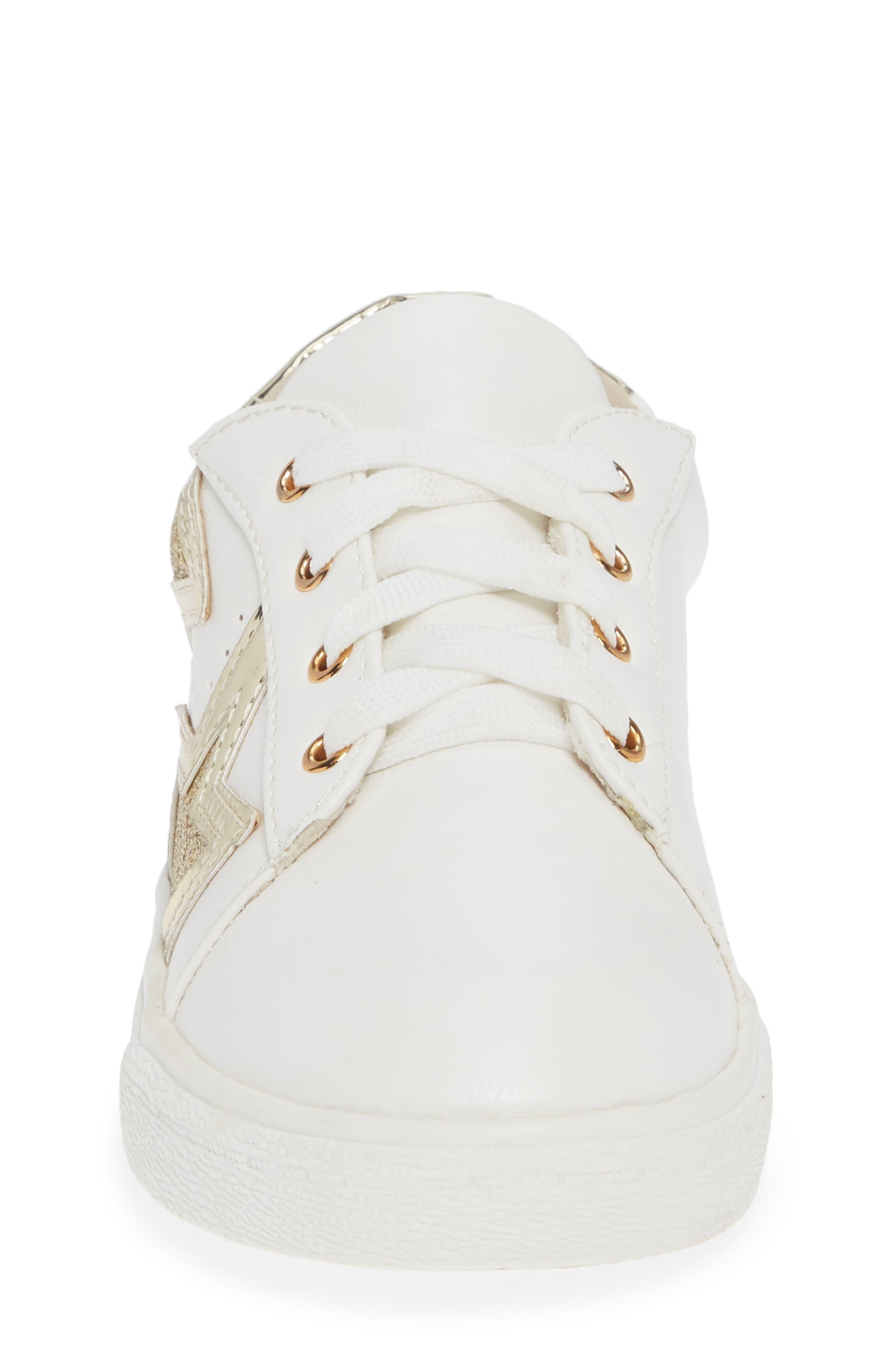 Miss Harper Appliqué Glitter Sneaker,                             Alternate thumbnail 4, color,                             WHITE W/ GOLD STAR
