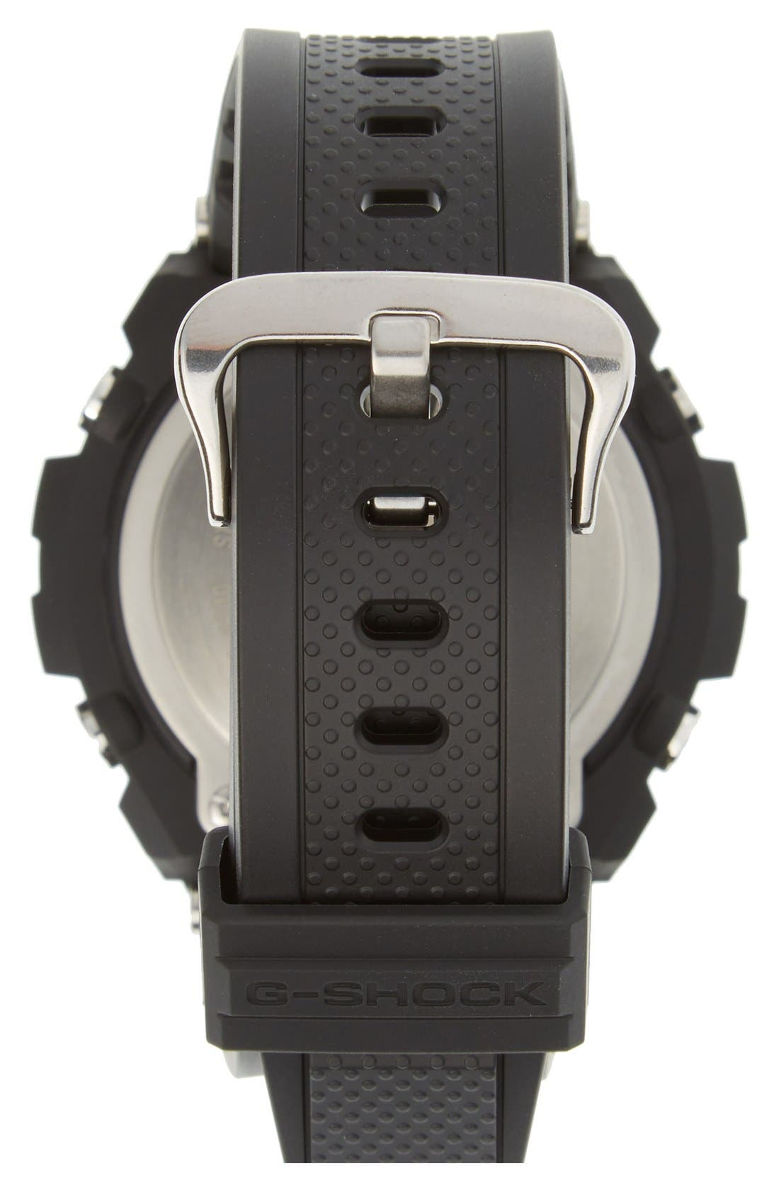 G-Shock 'G-Steel' Ana-Digi Resin Strap Watch, 59mm x 52mm,                             Alternate thumbnail 4, color,                             BLACK