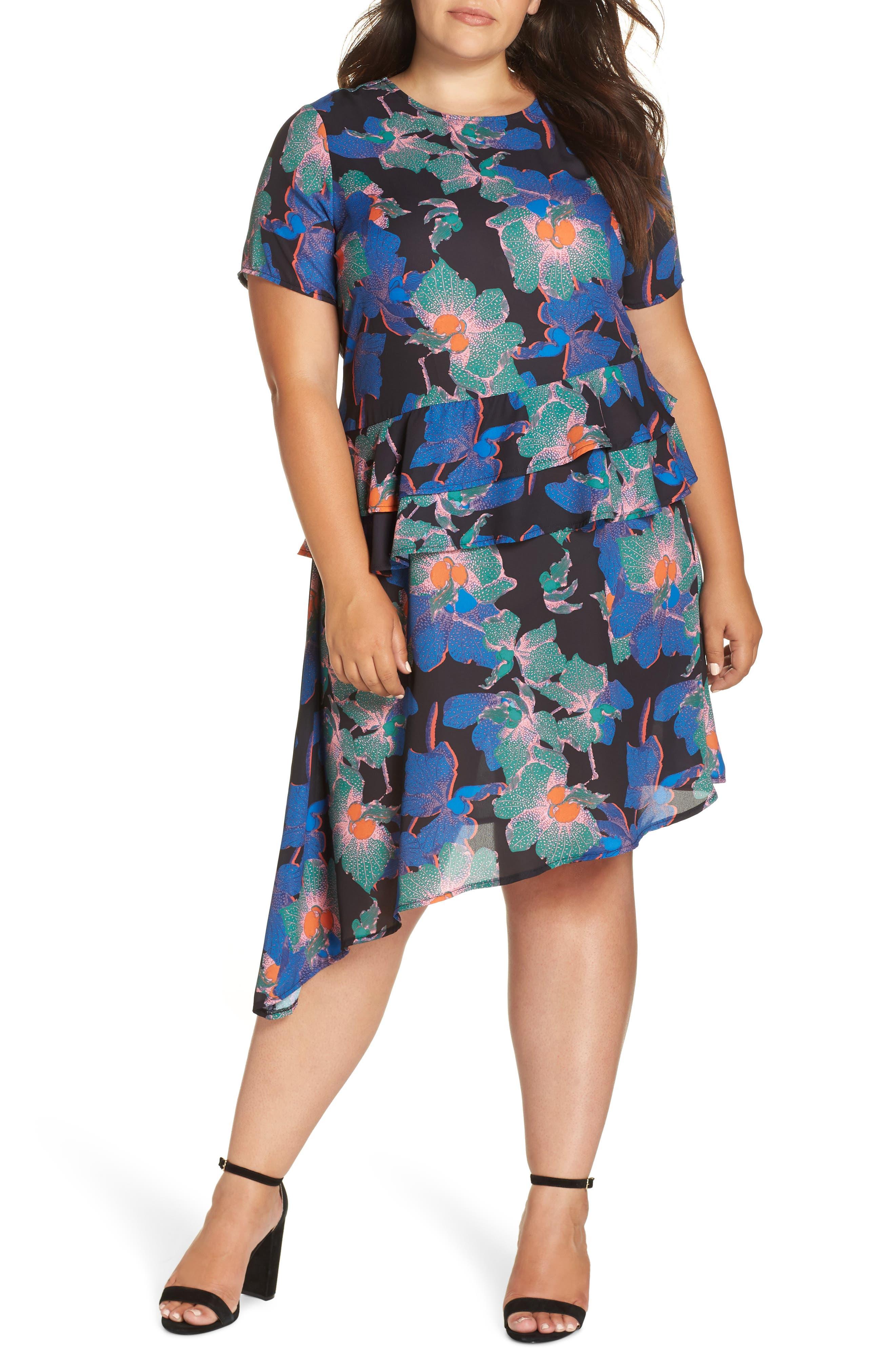 Plus Size Lost Ink Floral Asymmetric Dress, Blue