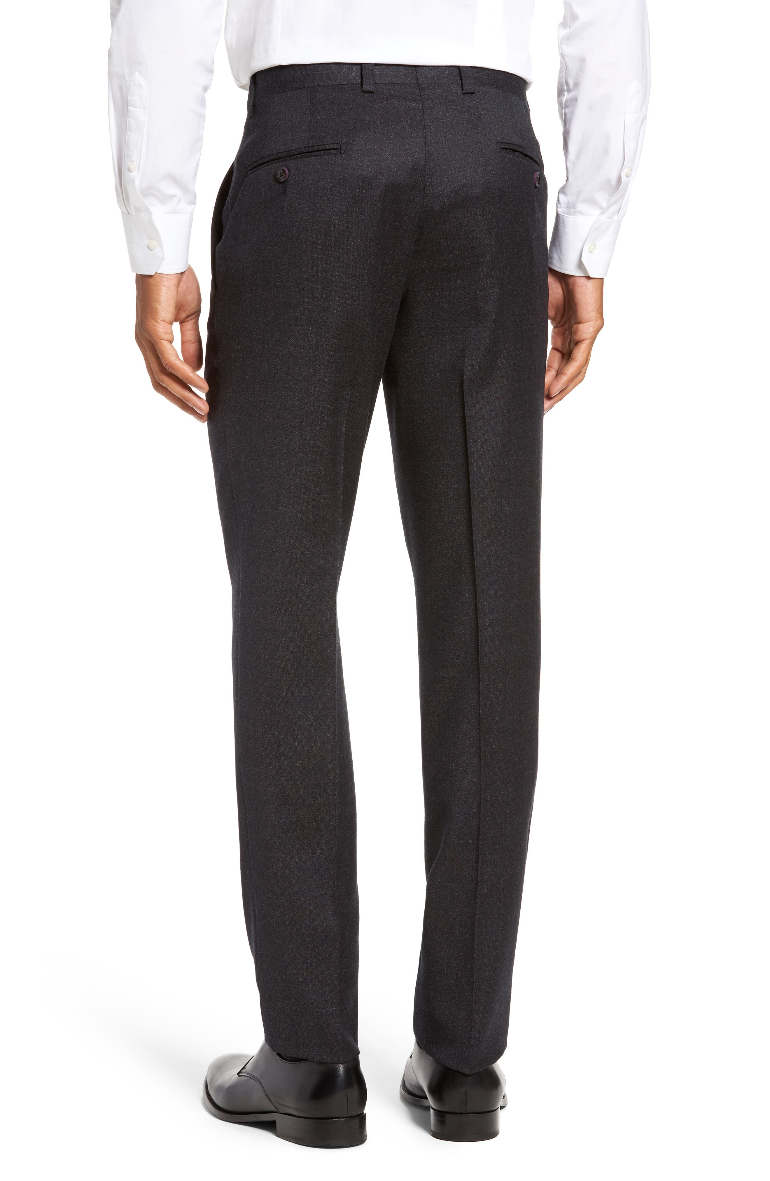 Jeremy Flat Front Solid Wool Trousers,                             Alternate thumbnail 3, color,                             050