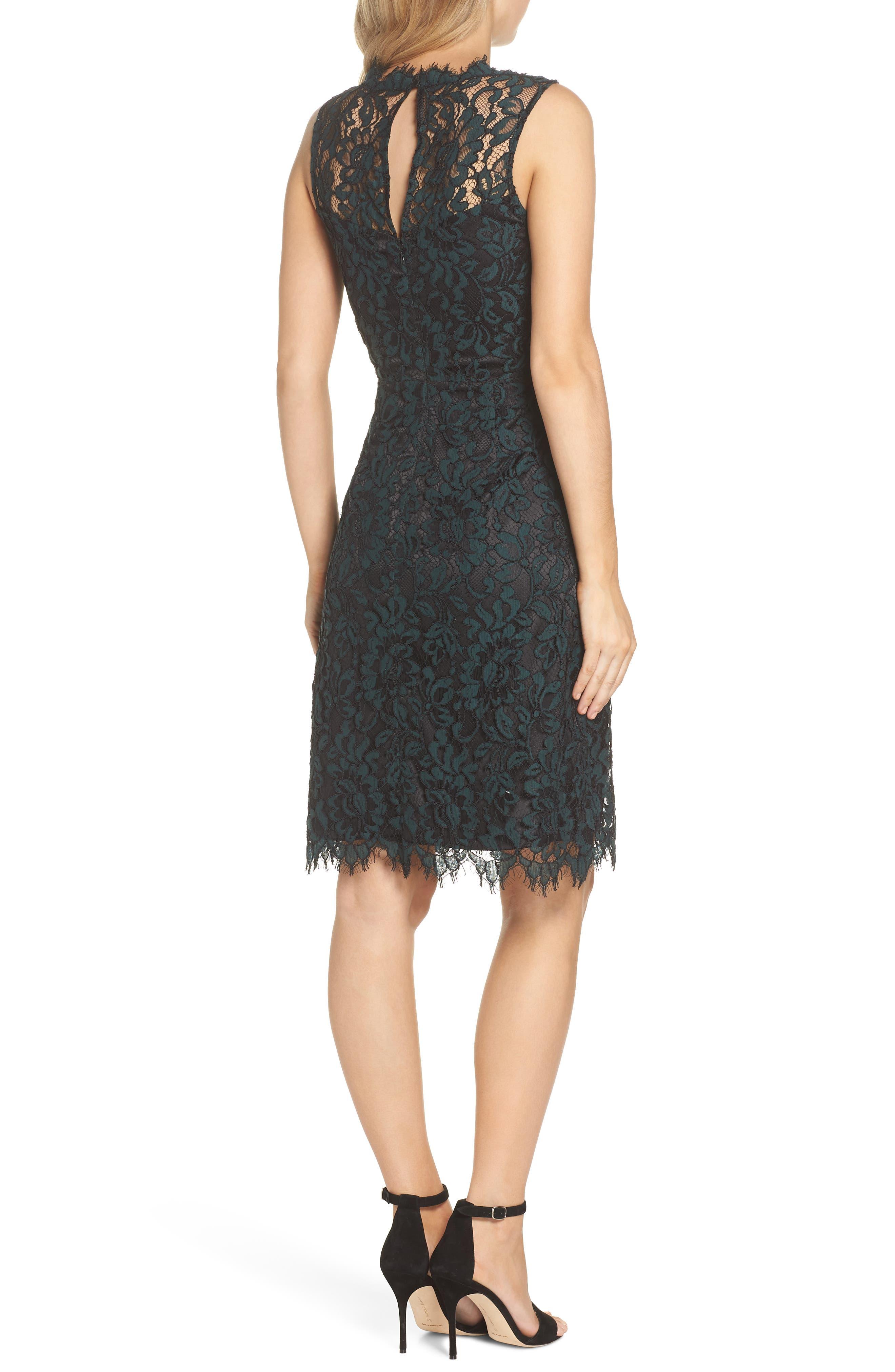 ELIZA J,                             High Neck Lace Sheath Dress,                             Alternate thumbnail 2, color,                             GREEN
