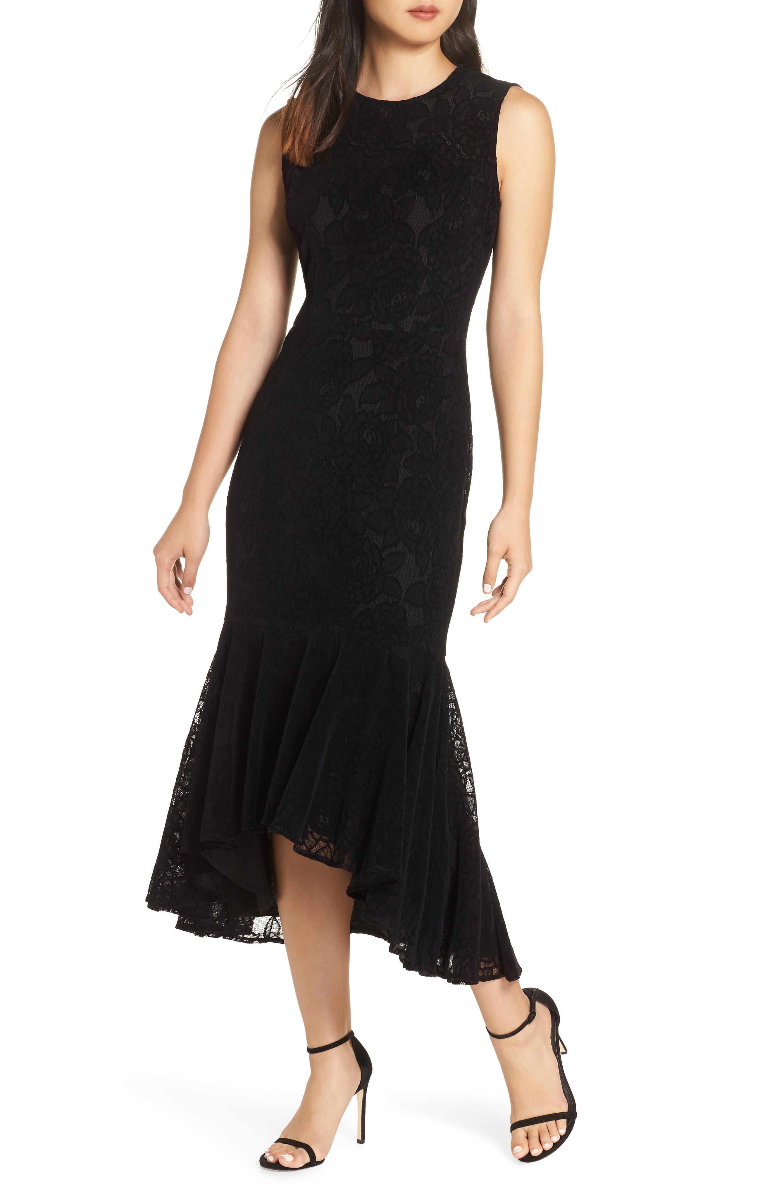Maggy London Chantilly Velvet Lace Flounce Dress, Black