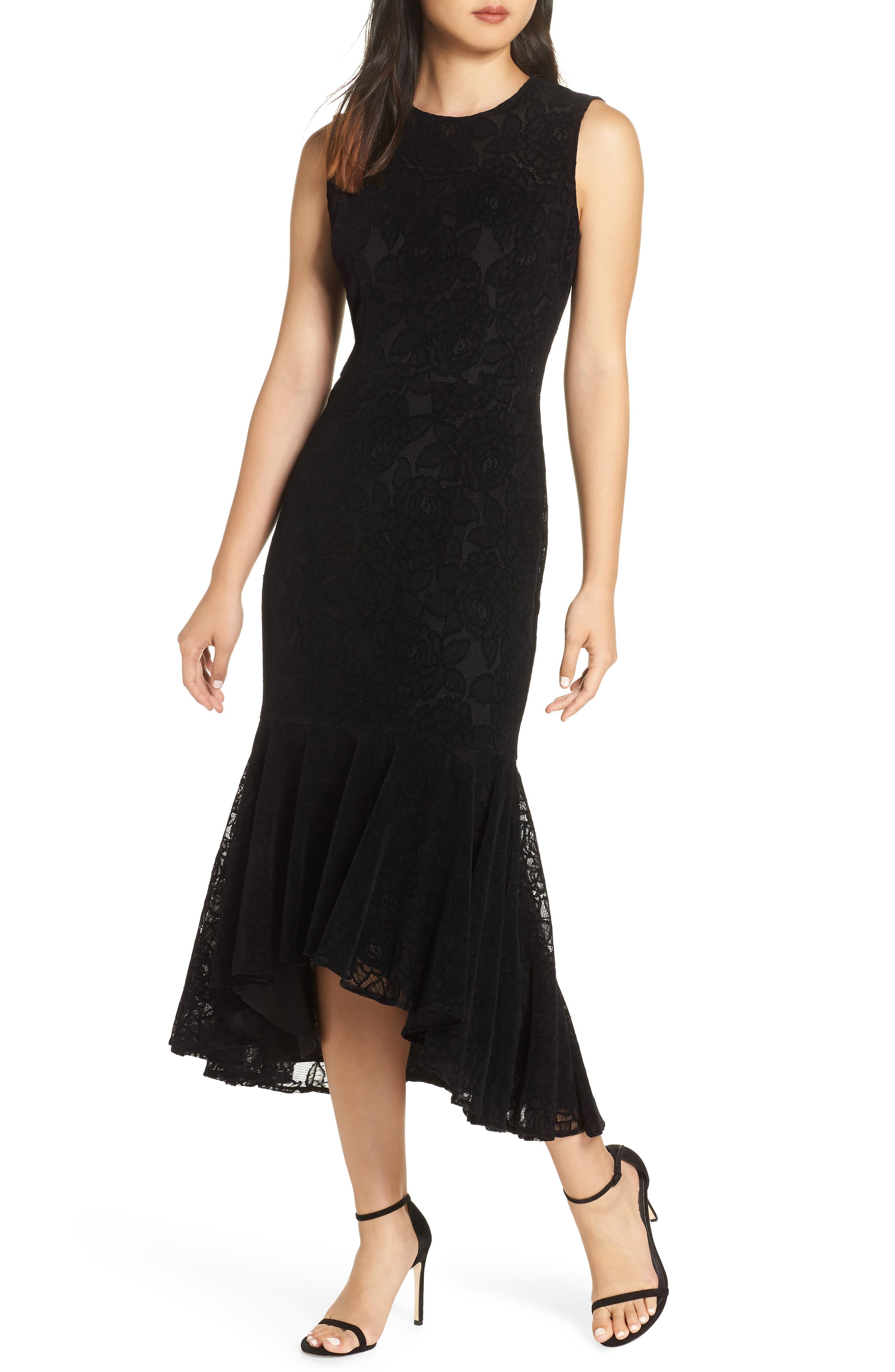 MAGGY LONDON Chantilly Velvet Lace Flounce Dress in Black