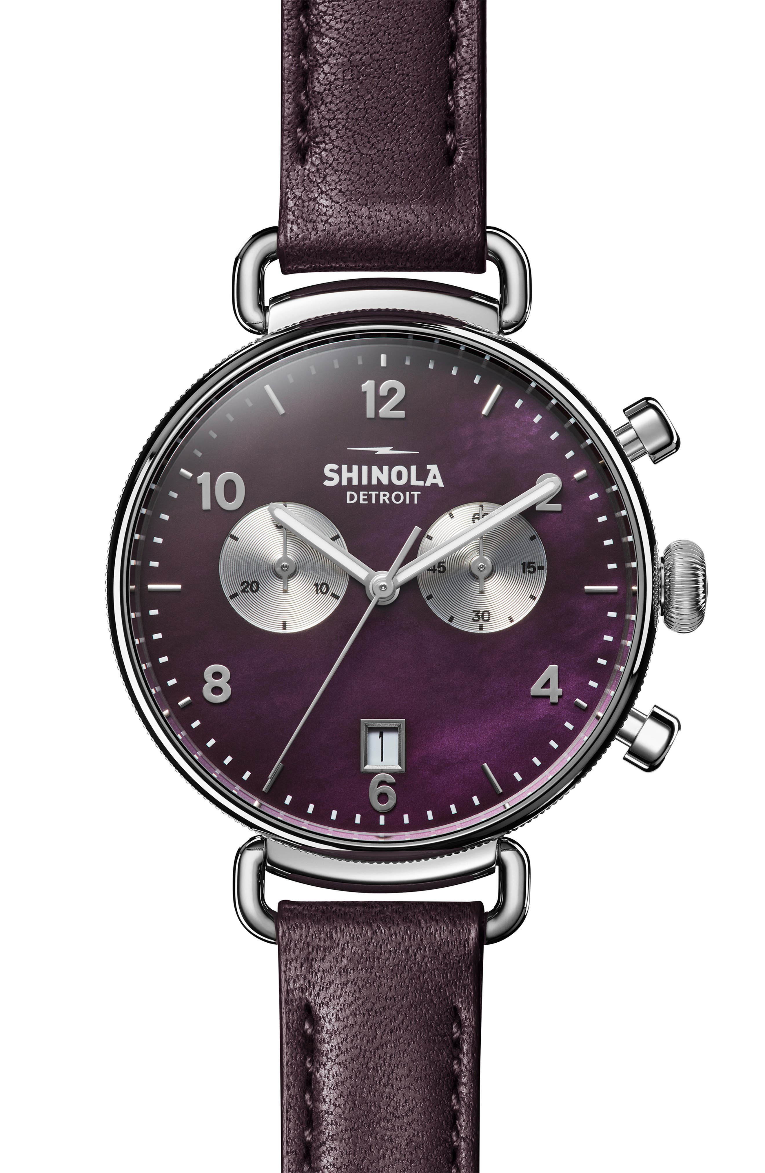 'The Canfield Chrono' Leather Strap Watch, 38mm,                         Main,                         color, PURPLE/ PLUM MOP/ SILVER