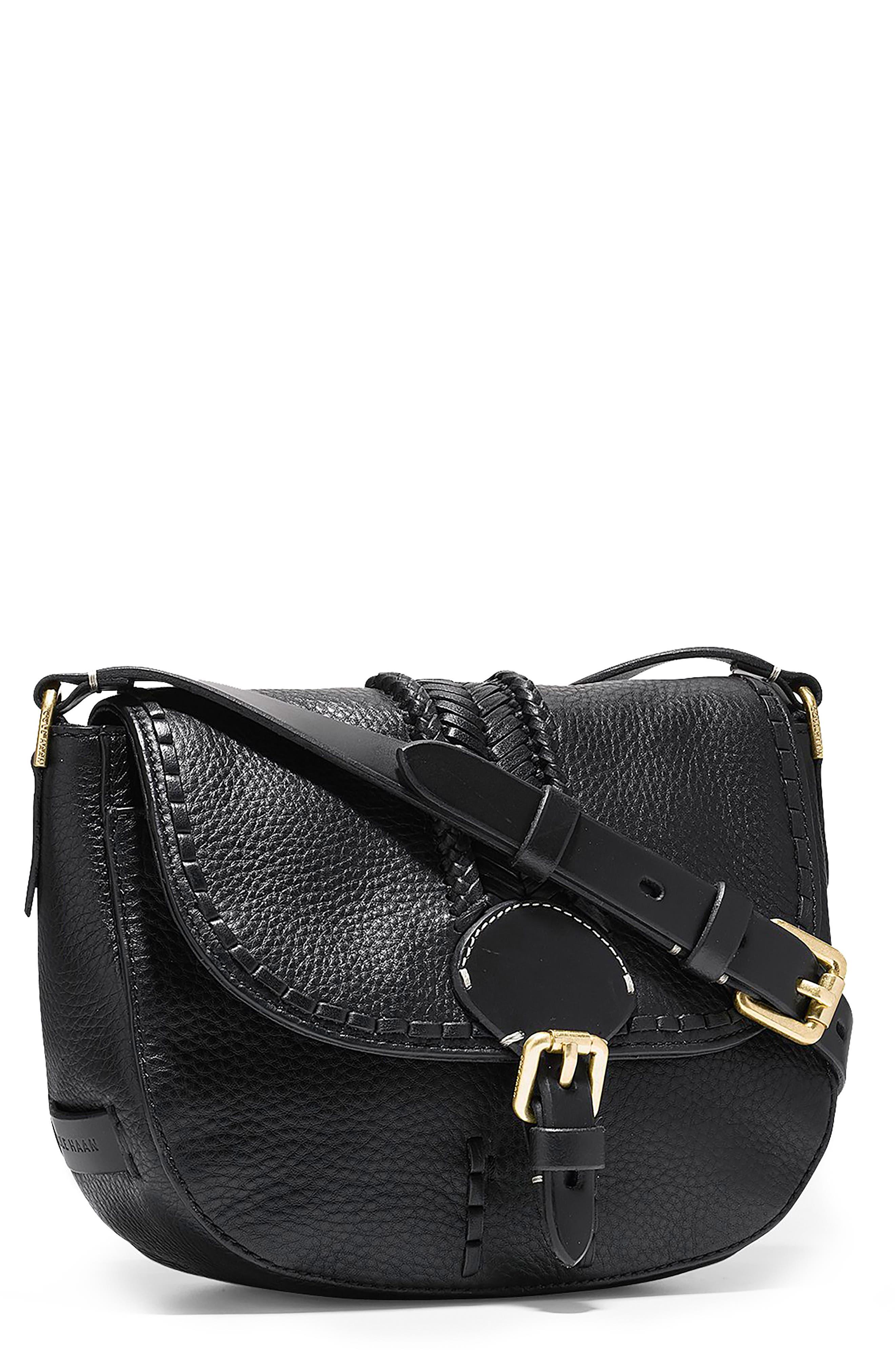 Mini Loralie Whipstitch Leather Saddle Bag,                             Main thumbnail 1, color,                             001