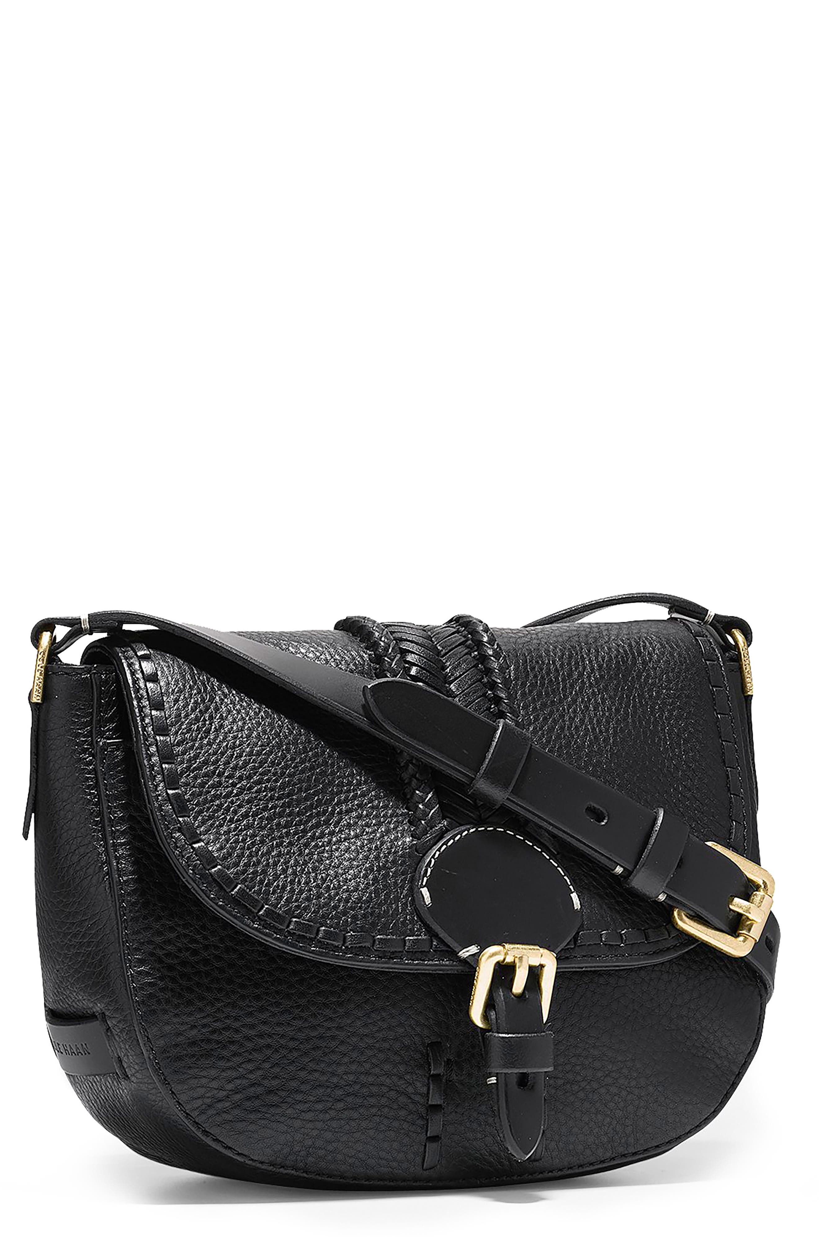 Mini Loralie Whipstitch Leather Saddle Bag,                         Main,                         color, 001