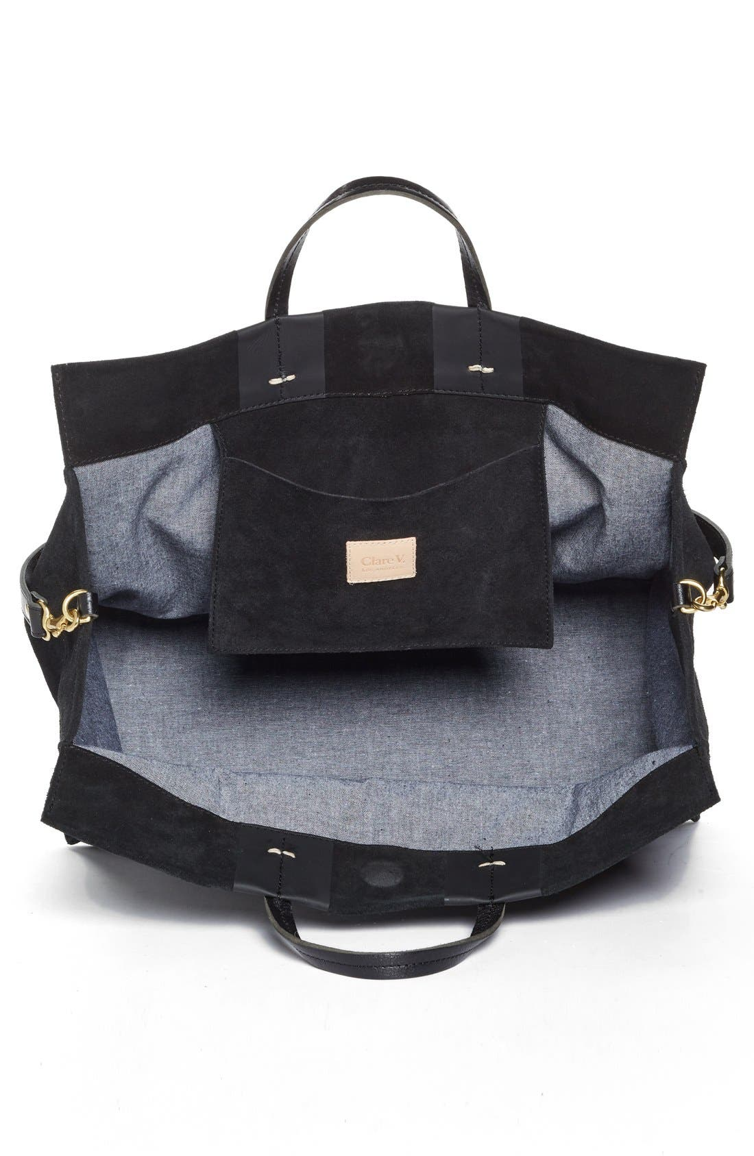 'Simple' Stripe Leather Tote,                             Alternate thumbnail 3, color,                             002