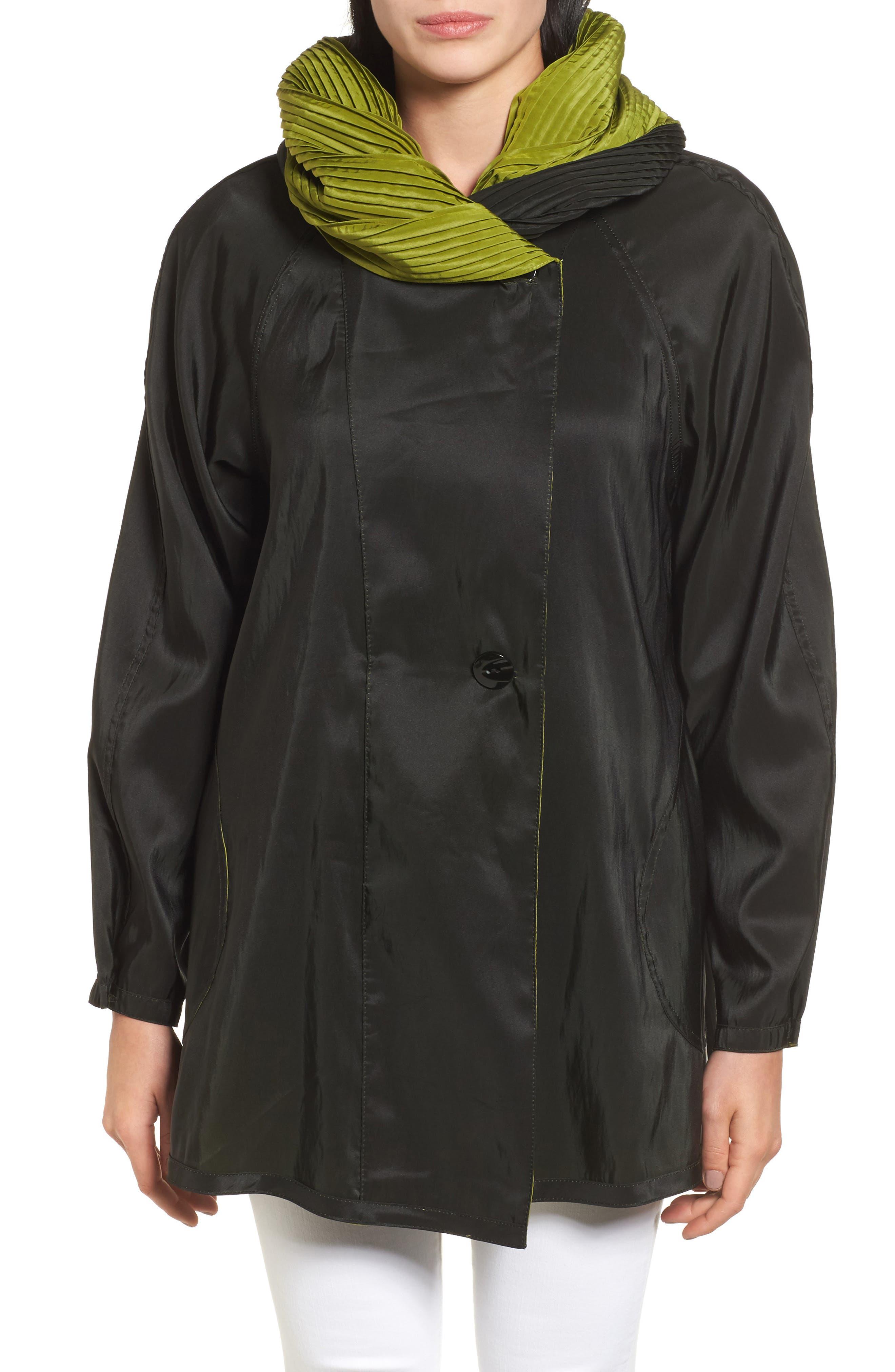 'Mini Donatella' Reversible Pleat Hood Packable Travel Coat,                             Alternate thumbnail 4, color,                             316