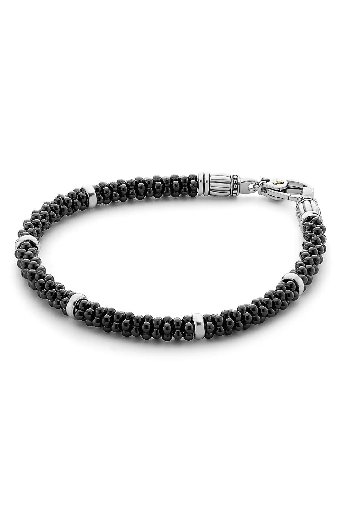 'Black & White Caviar' Bracelet,                         Main,                         color, BLACK/ SILVER