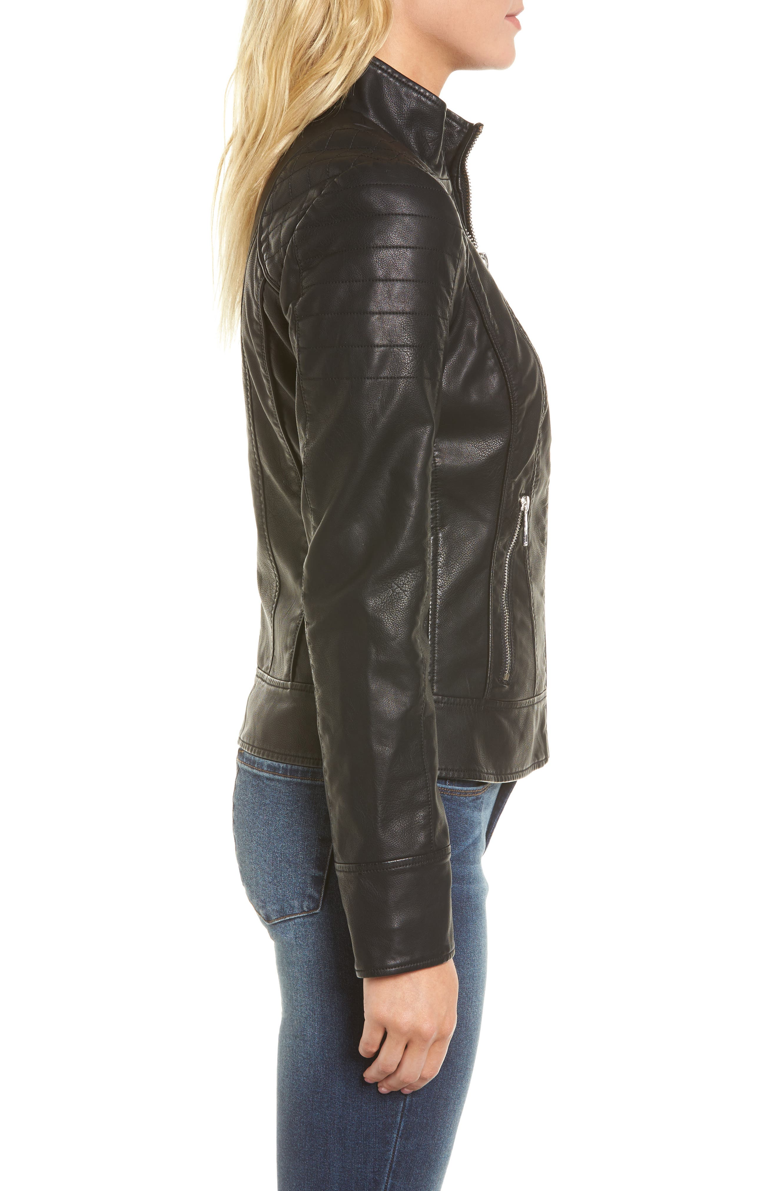 GUESS,                             Side Lace Faux Leather Jacket,                             Alternate thumbnail 3, color,                             001
