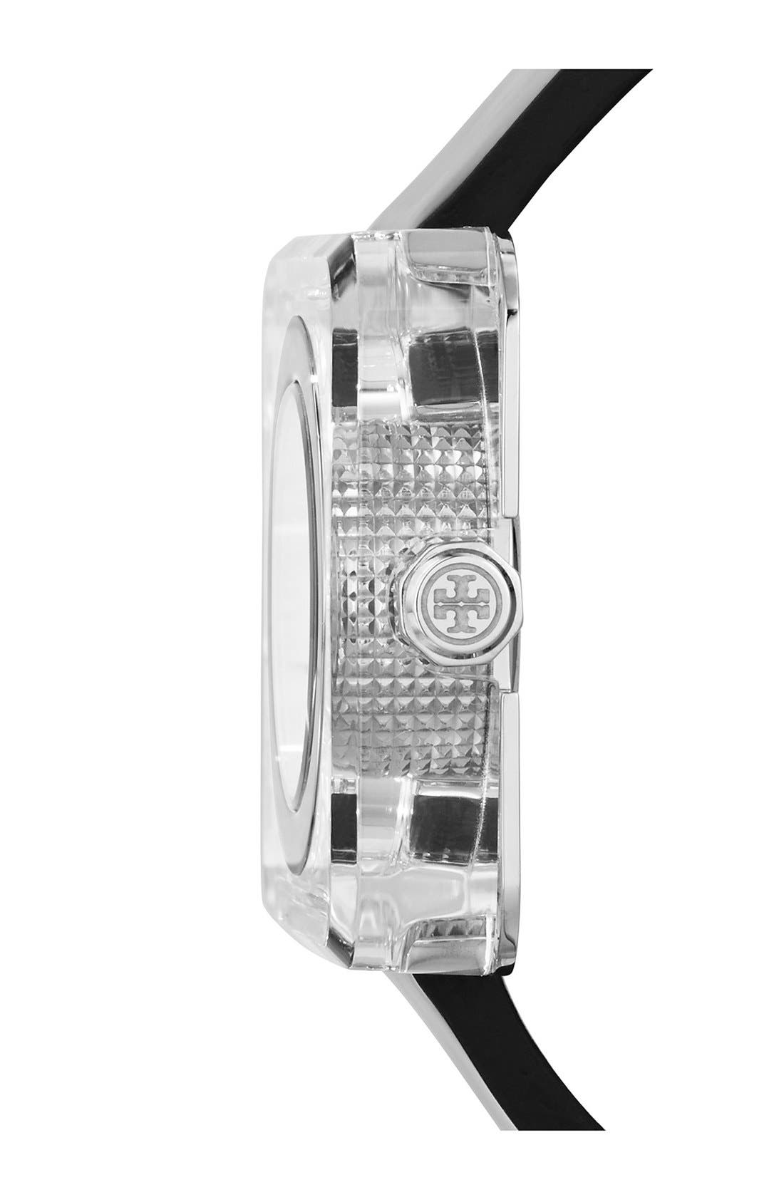 TORY BURCH,                             'Izzie' Square Leather Strap Watch, 36mm,                             Alternate thumbnail 3, color,                             001
