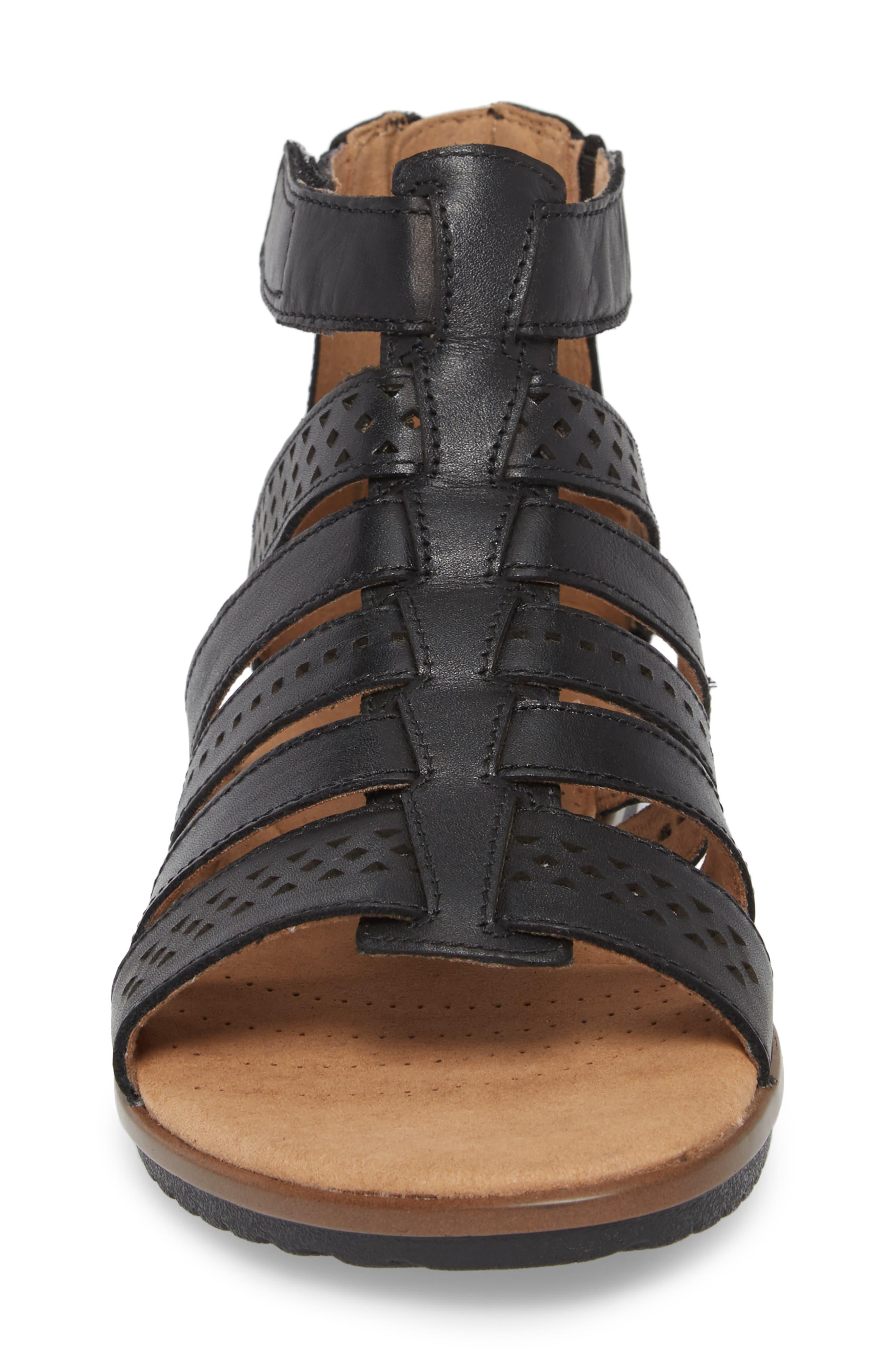 Kele Lotus Sandal,                             Alternate thumbnail 4, color,                             BLACK LEATHER
