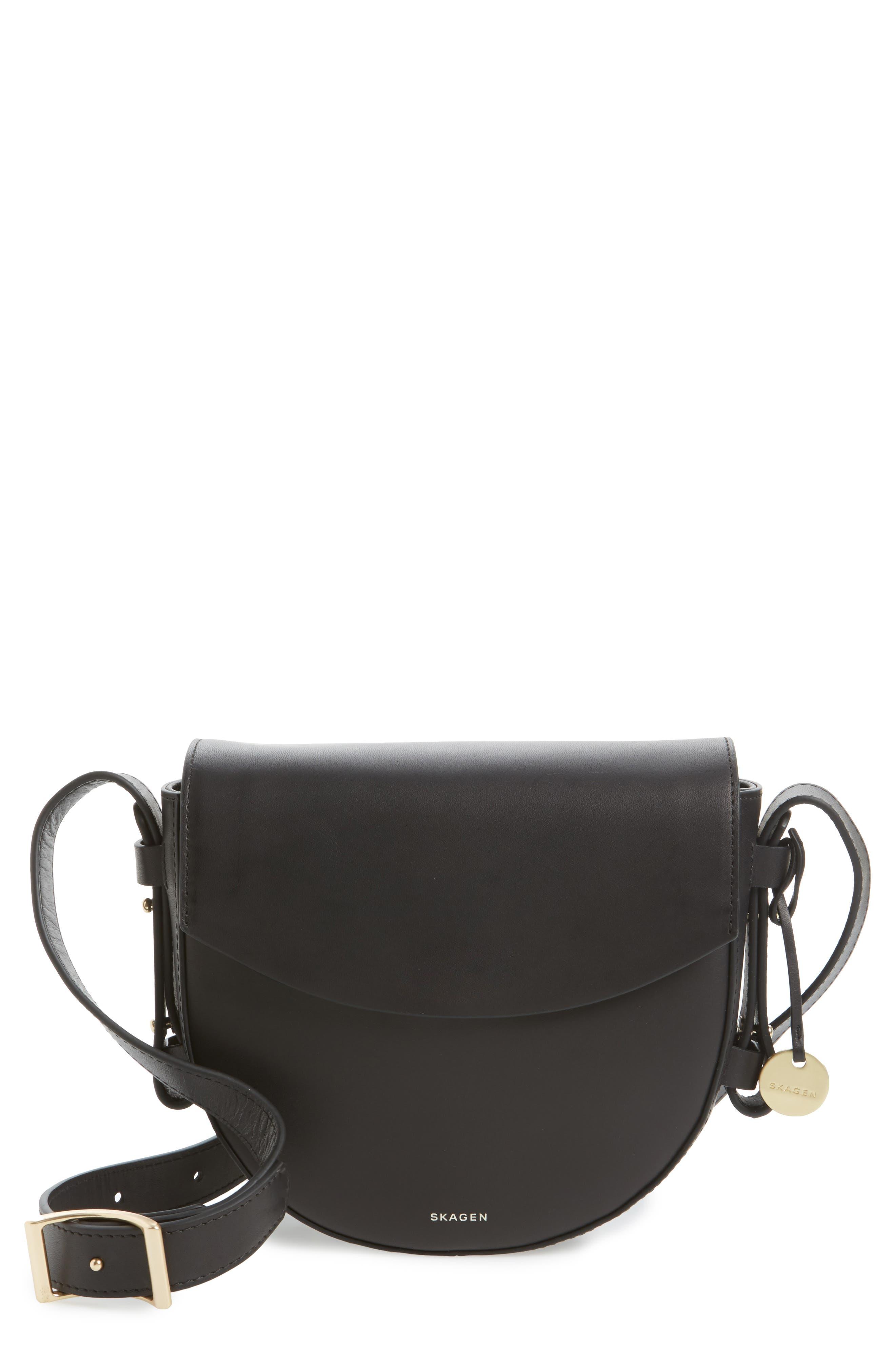 Lobelle Leather Saddle Bag,                             Main thumbnail 1, color,                             001