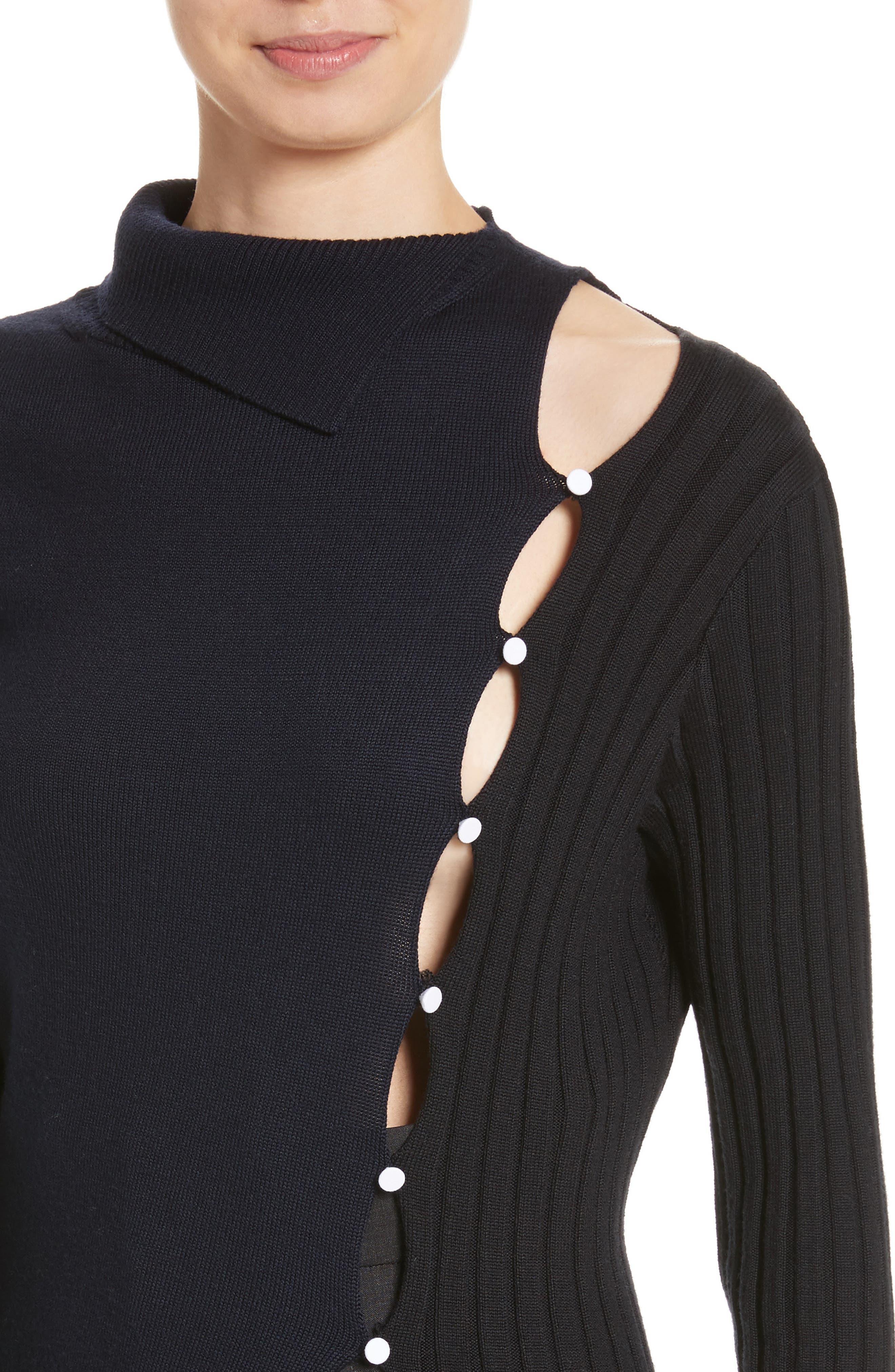 Asymmetrical Button Front Turtleneck Sweater,                             Alternate thumbnail 4, color,                             400