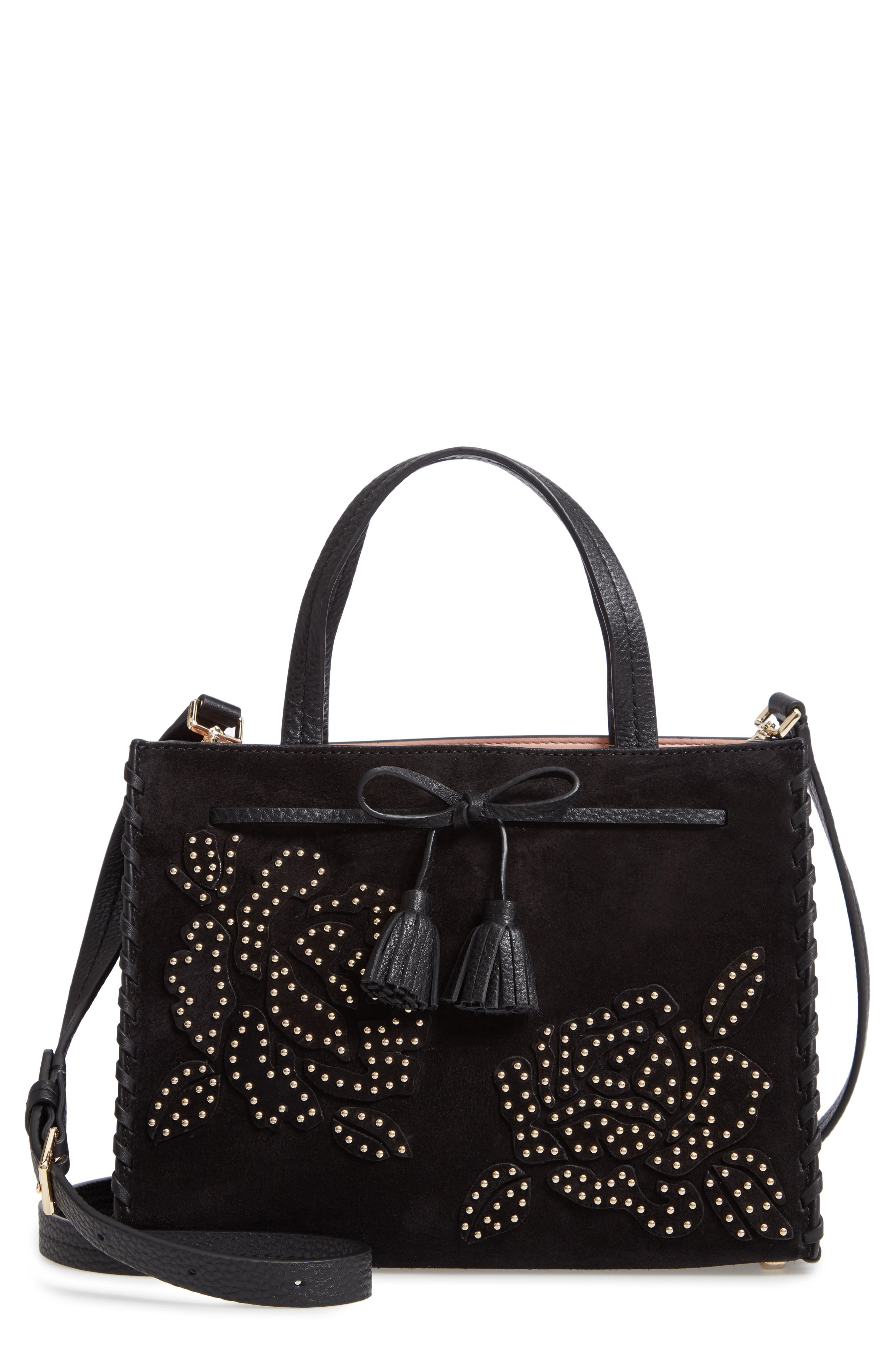 hayes street - rose studs suede & leather satchel,                             Main thumbnail 1, color,                             BLACK