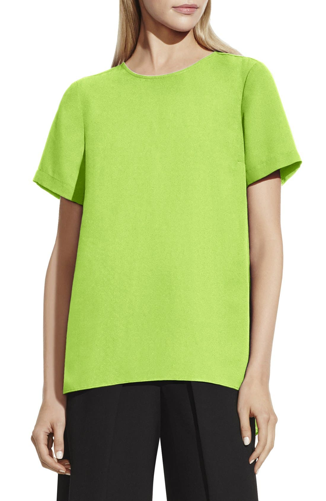 VINCE CAMUTO,                             Short Sleeve High/Low Hem Blouse,                             Main thumbnail 1, color,                             304