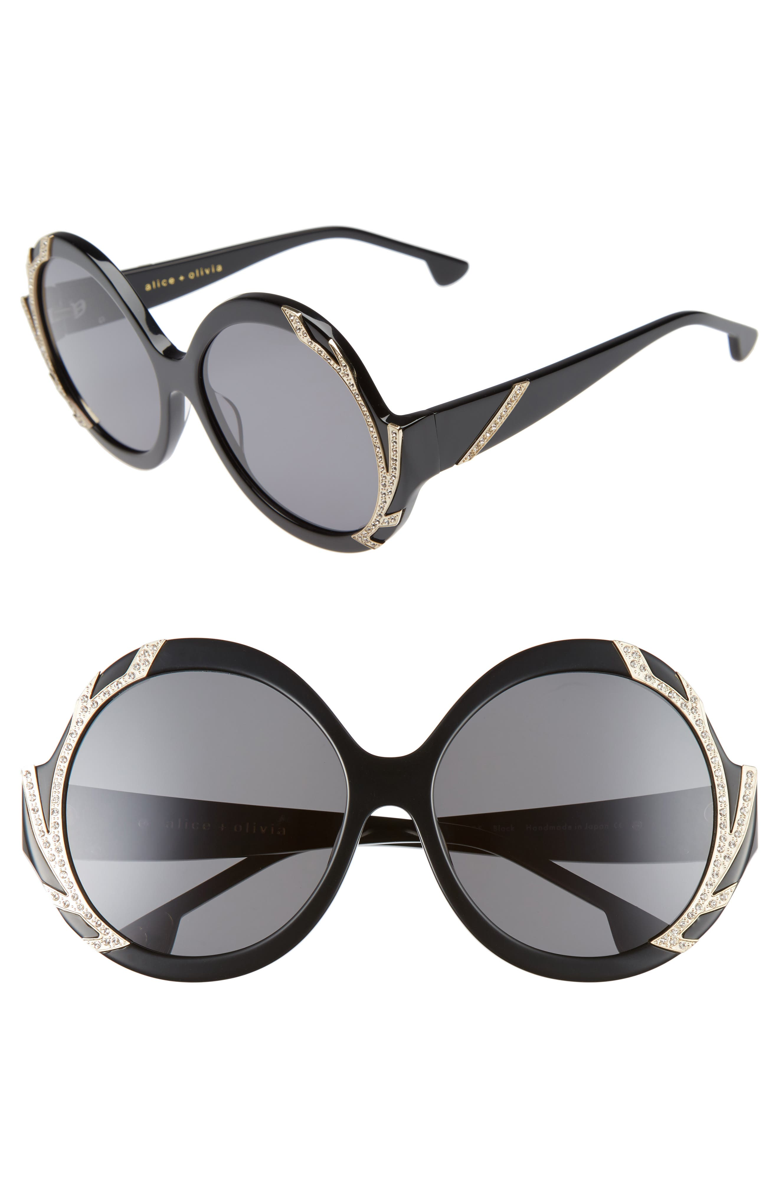 Stacey Crystal 59mm Gradient Lens Round Sunglasses,                             Main thumbnail 1, color,                             001