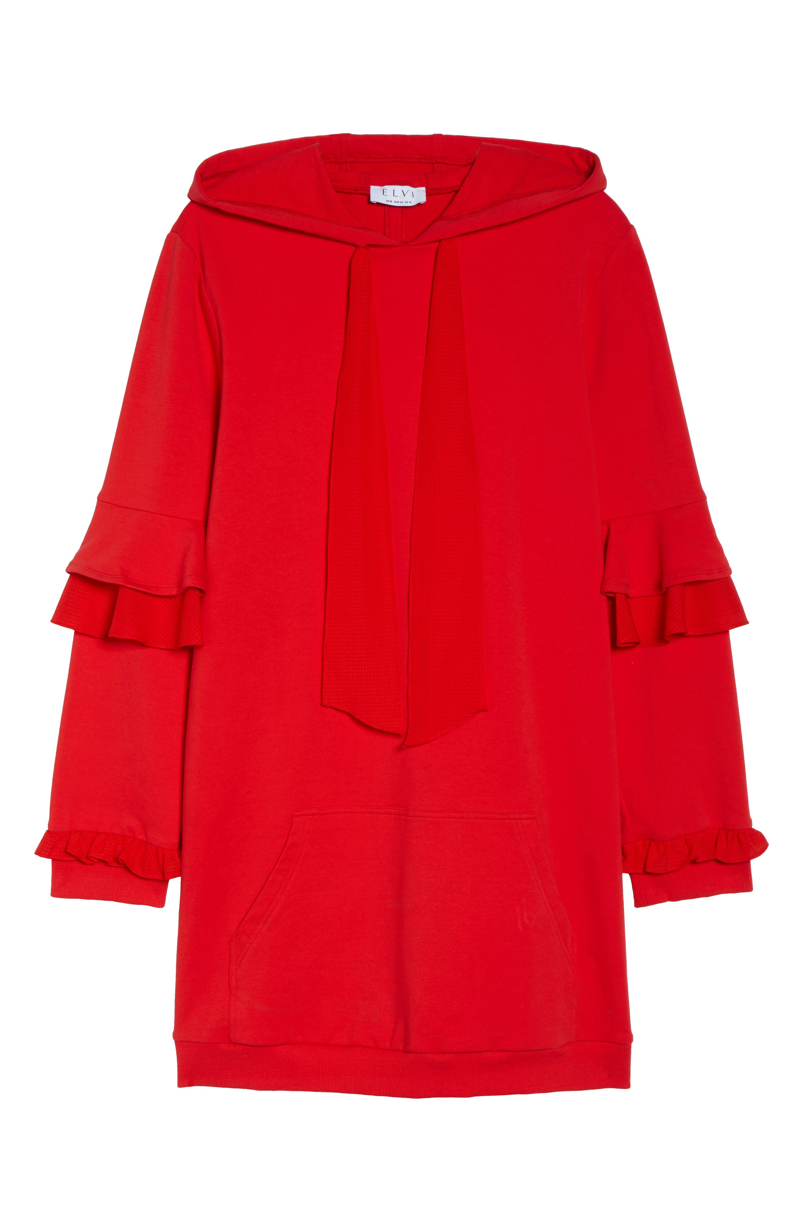 The Snapdragon Ruffle Sleeve Hoodie Dress,                             Alternate thumbnail 6, color,                             RED