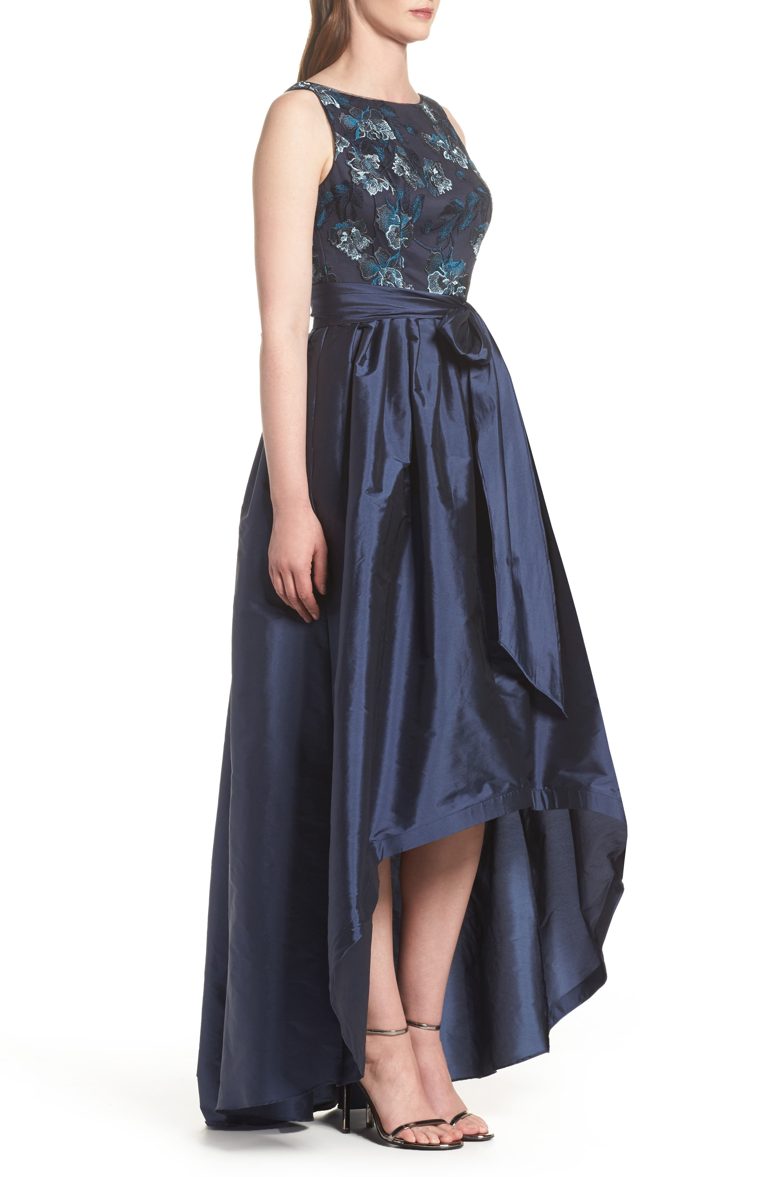 Embroidered Taffeta High/Low Gown,                             Alternate thumbnail 3, color,