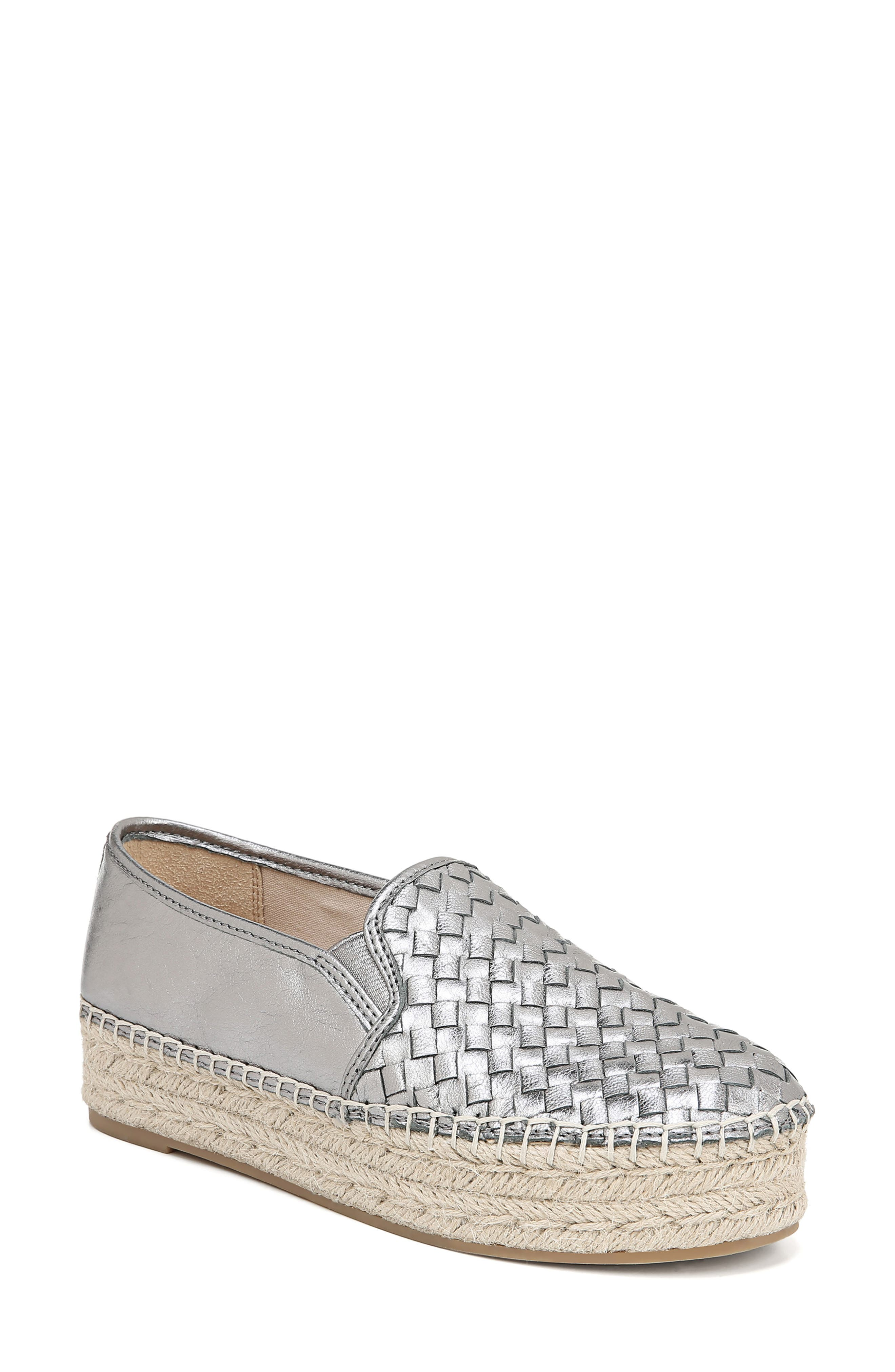 Women'S Catherine Woven Metallic Leather Platform Espadrilles in Pewter Leather