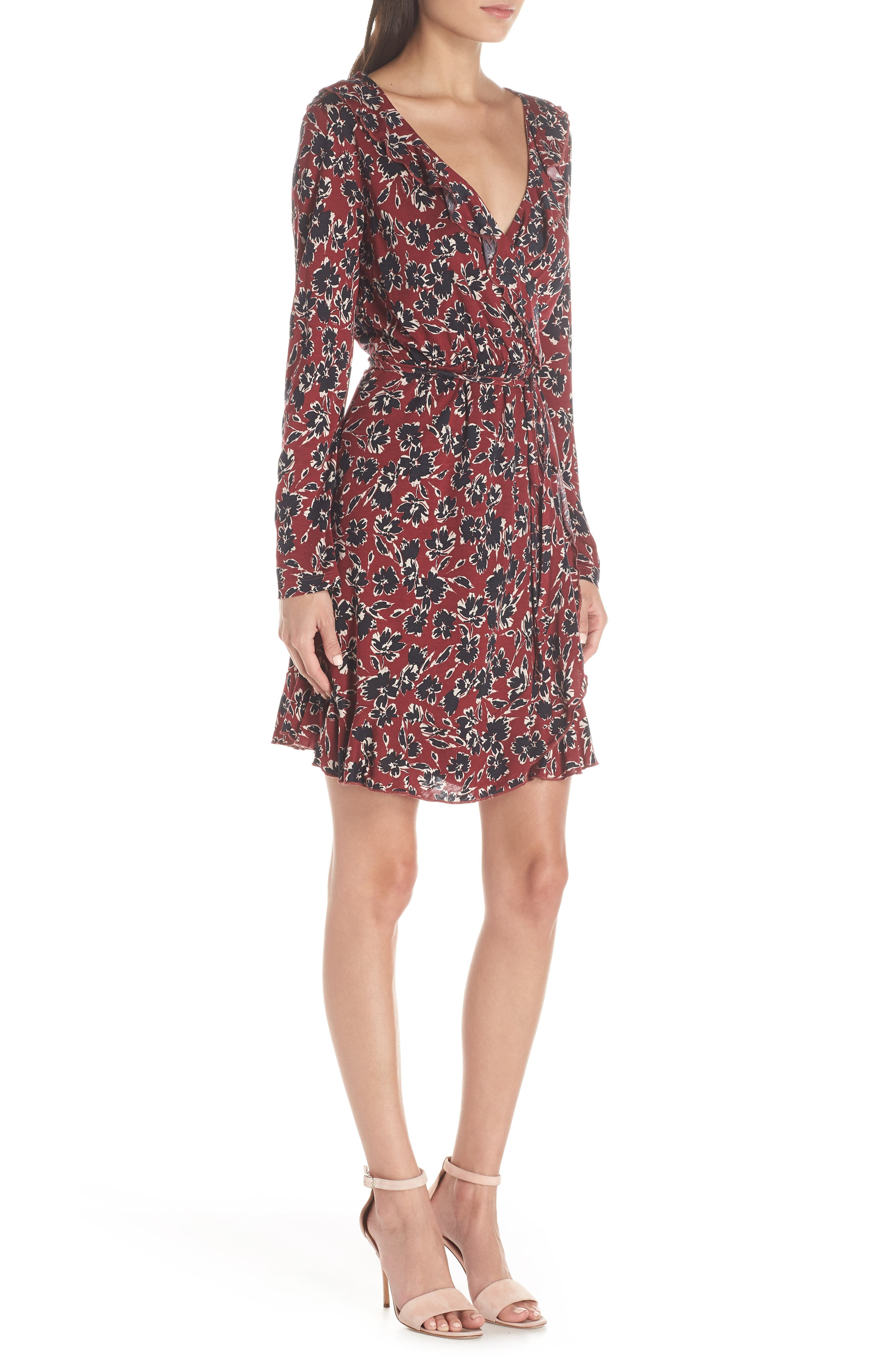 FRENCH CONNECTION,                             Aubi Meadow Jersey Dress,                             Alternate thumbnail 3, color,                             ROSSO RED MULTI