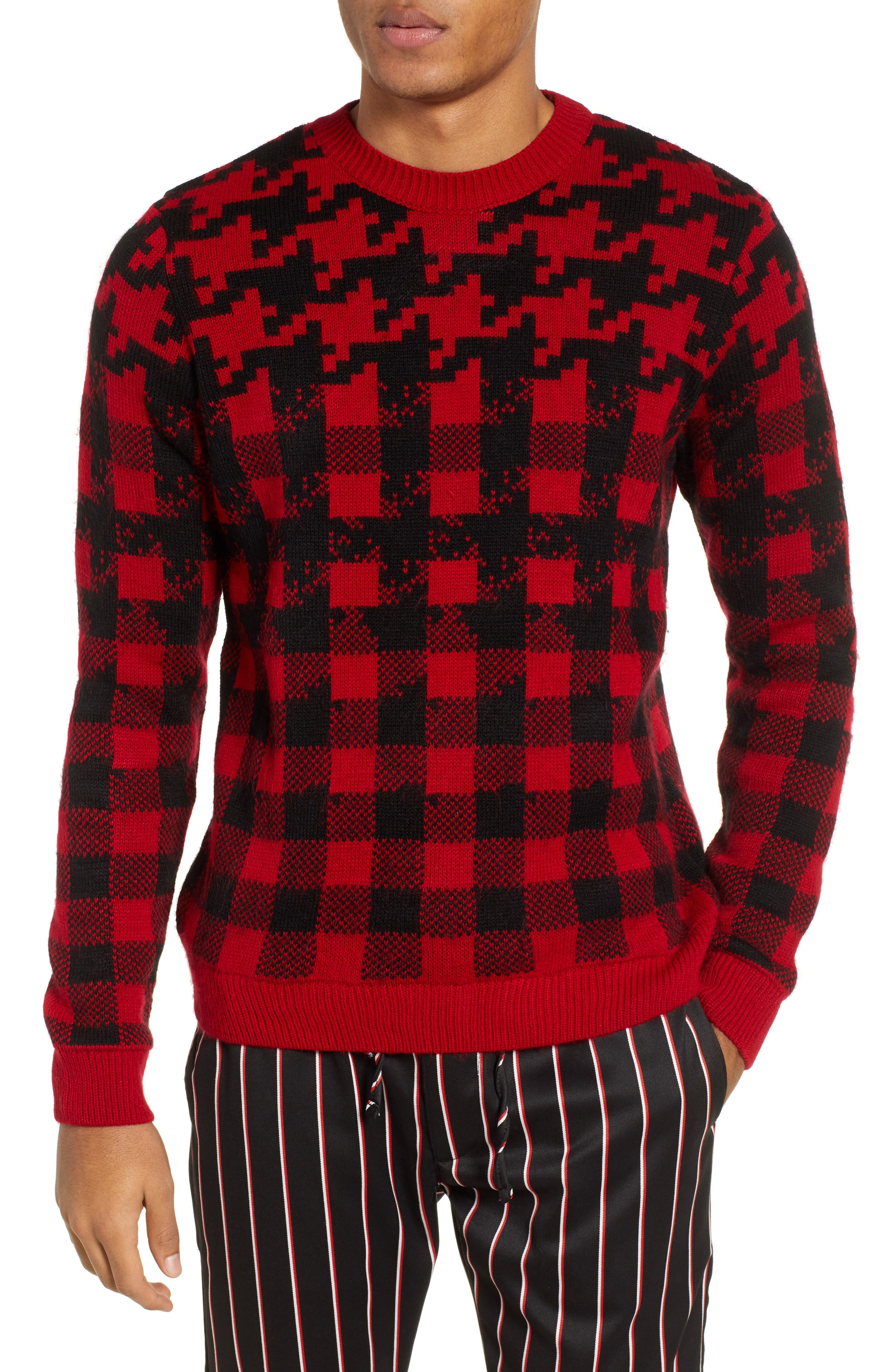 Topman Houndstooth Sweater, Red