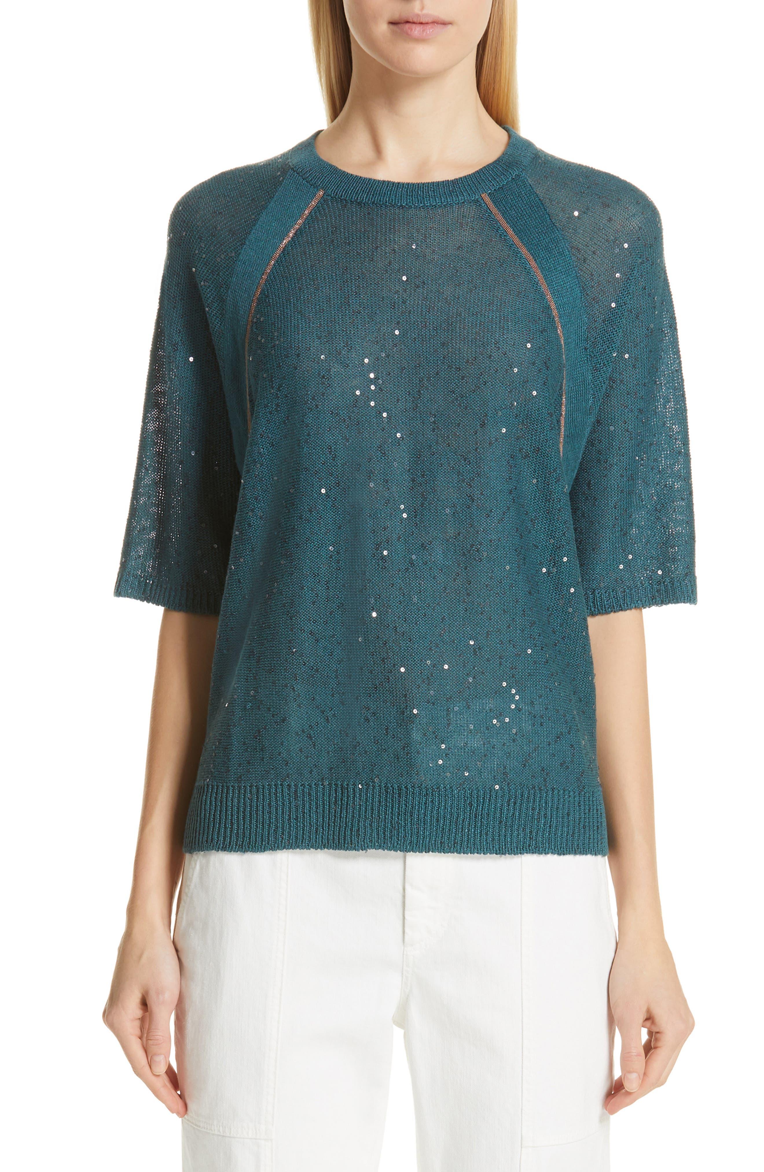 Brunello Cucinelli Sequin & Monili Embellished Linen & Silk Sweater, Blue
