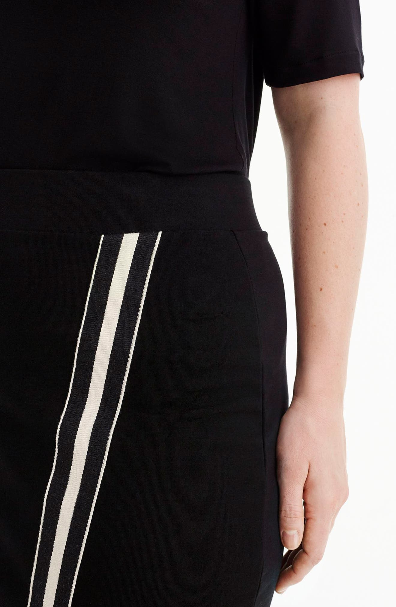 for J.Crew Track Stripe Slit French Terry Skirt,                             Alternate thumbnail 8, color,                             008