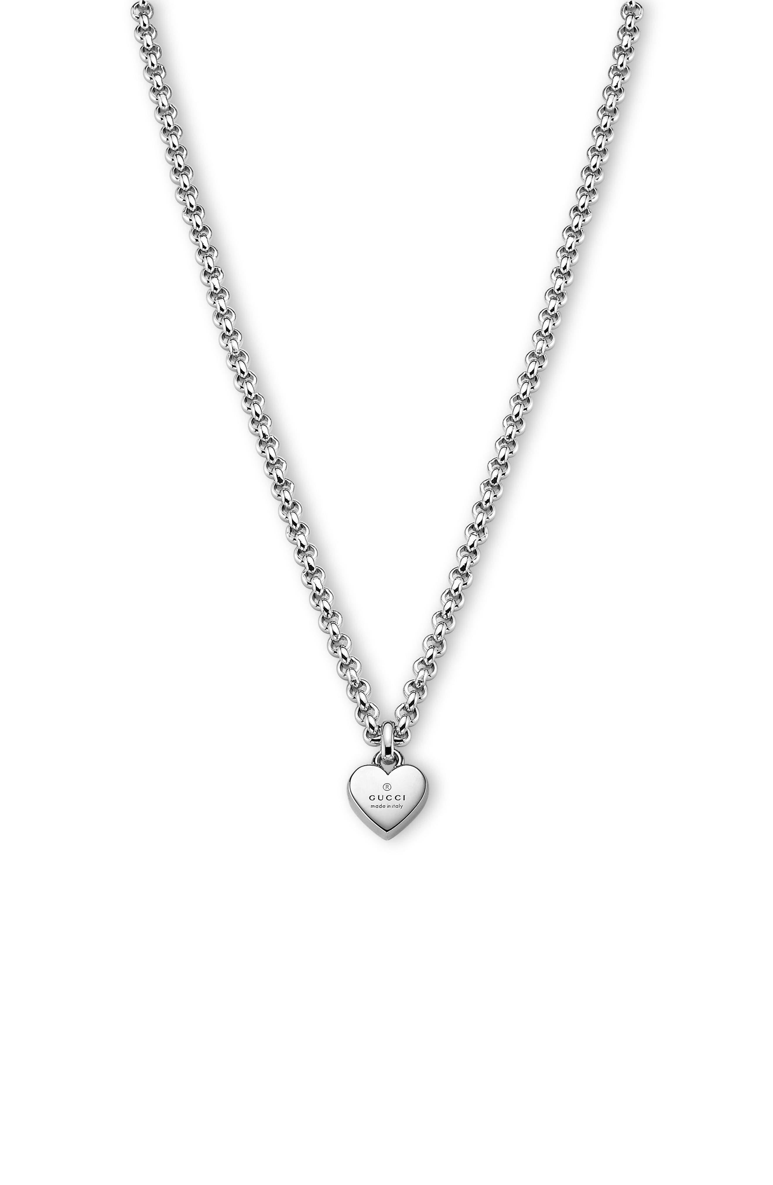 Trademark Heart Necklace,                             Main thumbnail 1, color,                             STERLING SILVER