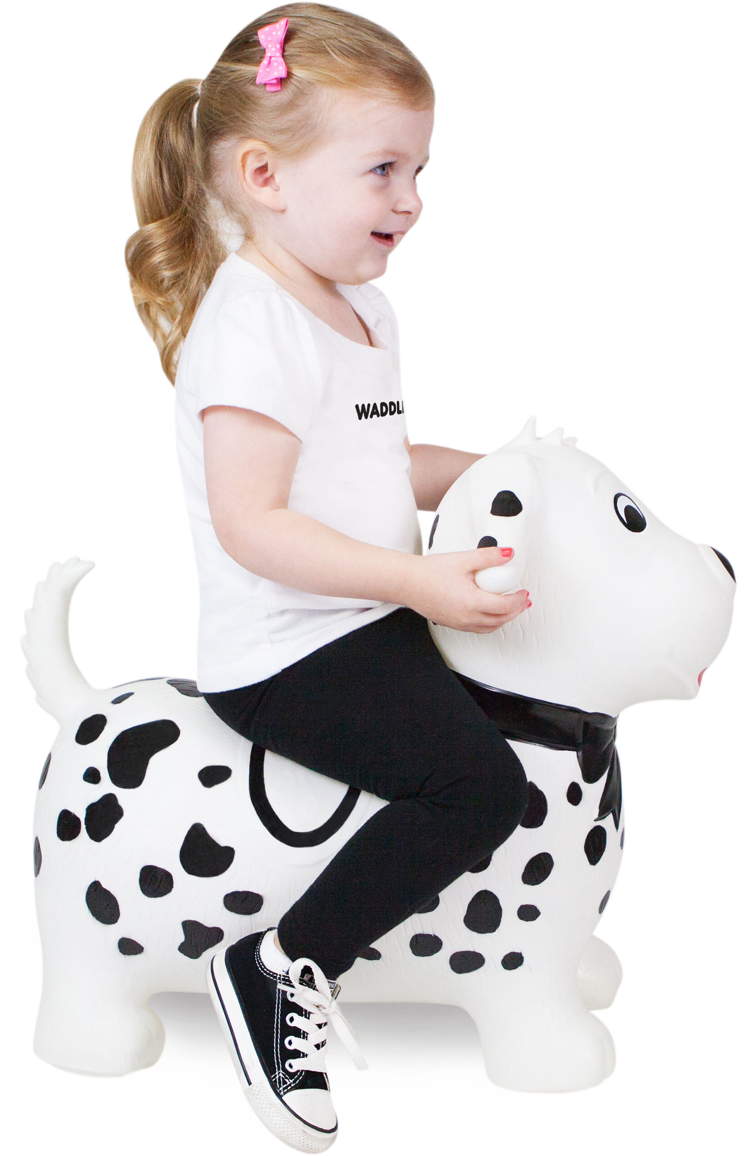Spots Bouncy Ride-On Dog Toy,                             Alternate thumbnail 4, color,                             WHITE/ BLACK