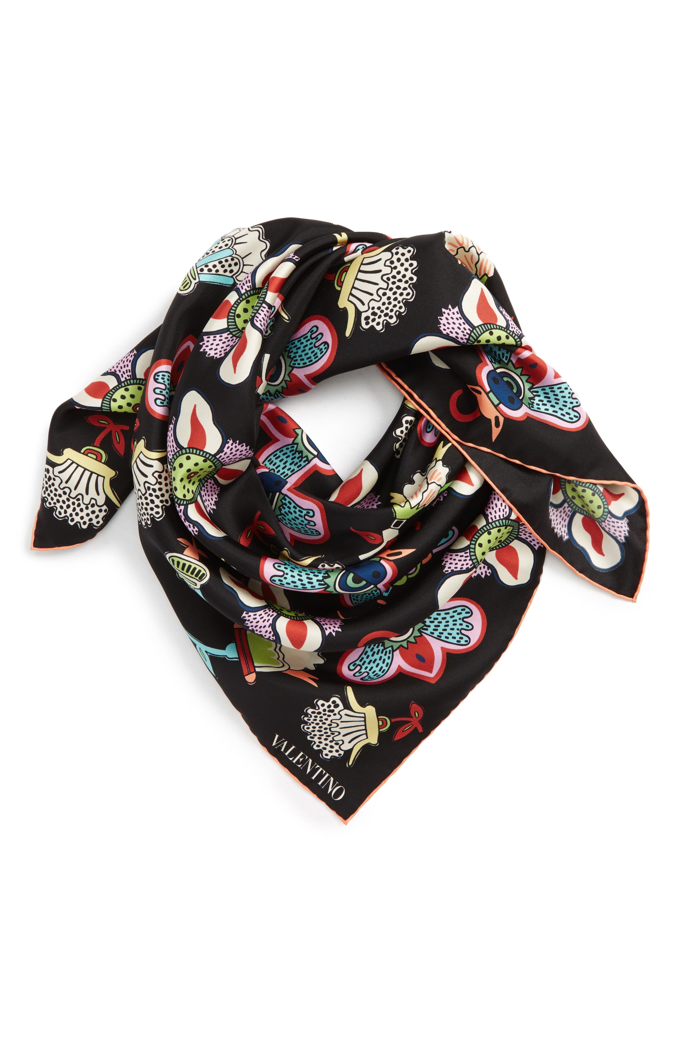 Pop Flower Silk Scarf,                             Alternate thumbnail 4, color,