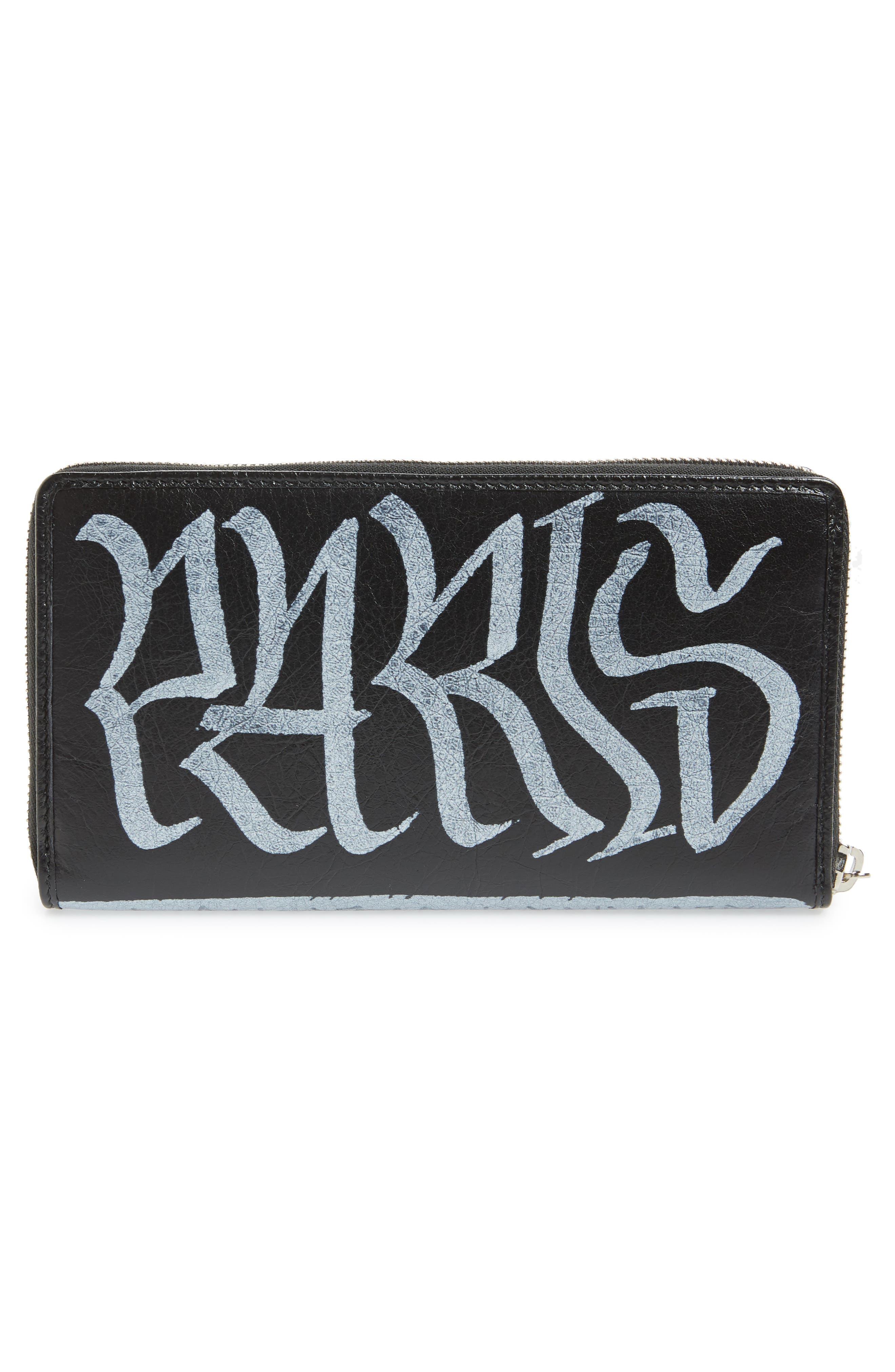 Bazar Graffiti Lambskin Zip Around Wallet,                             Alternate thumbnail 3, color,                             NOIR/ BLANC