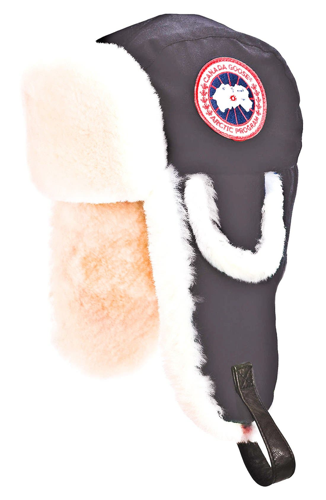 'Arctic' Tech Pilot Hat with Genuine Shearling Lining,                             Main thumbnail 1, color,                             BLACK