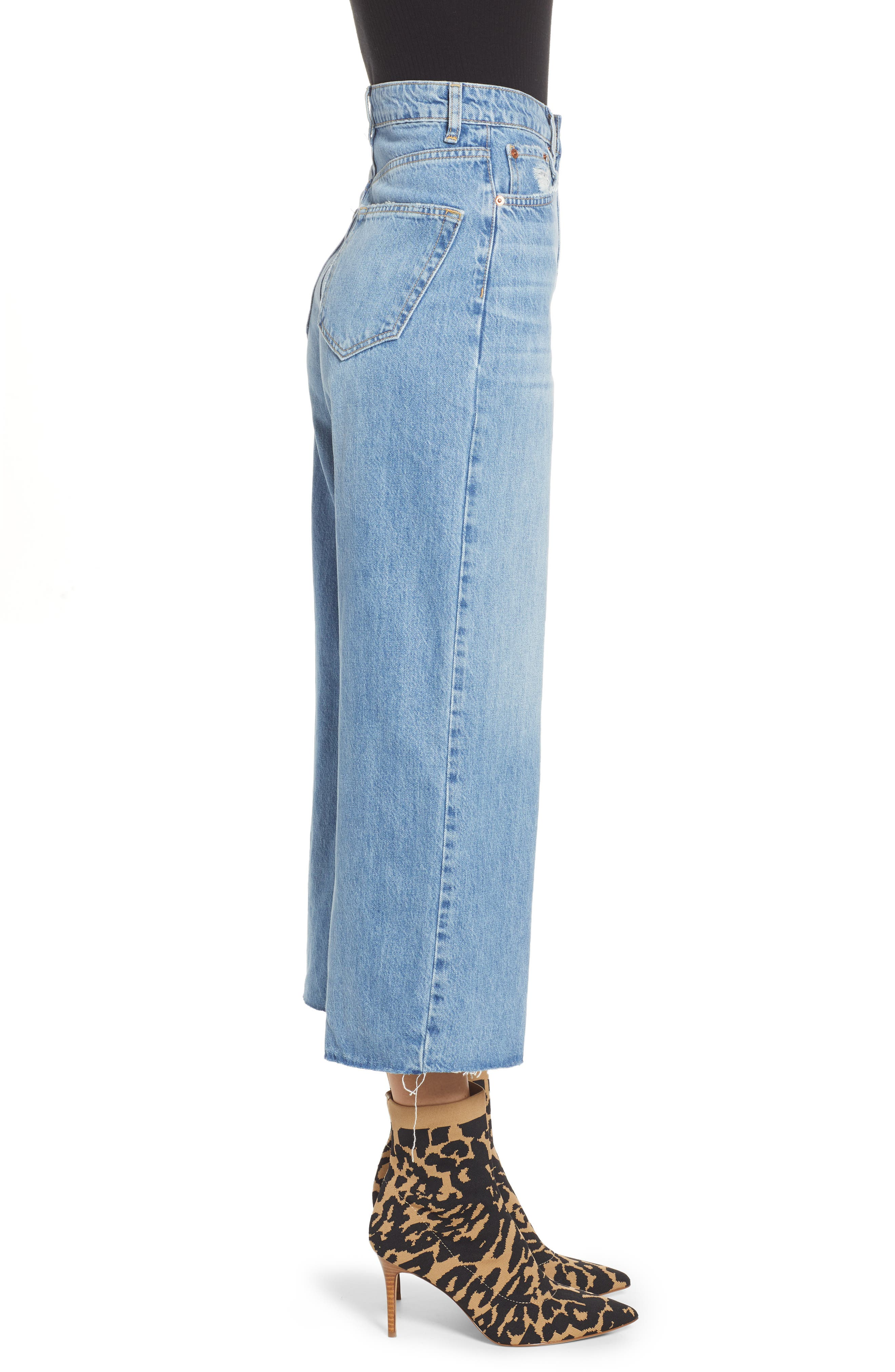 Crop Wide Leg Jeans,                             Alternate thumbnail 3, color,                             MID DENIM