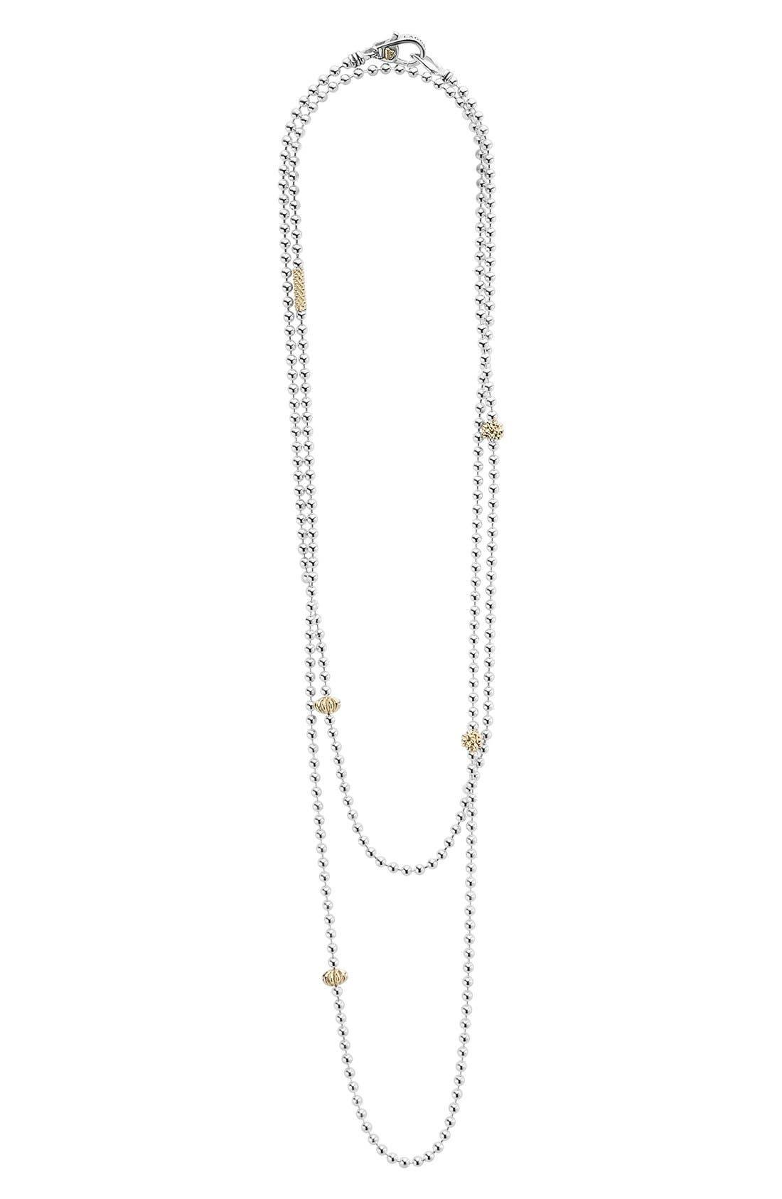 'Caviar Icon' Strand Necklace,                             Alternate thumbnail 3, color,                             SILVER/ GOLD