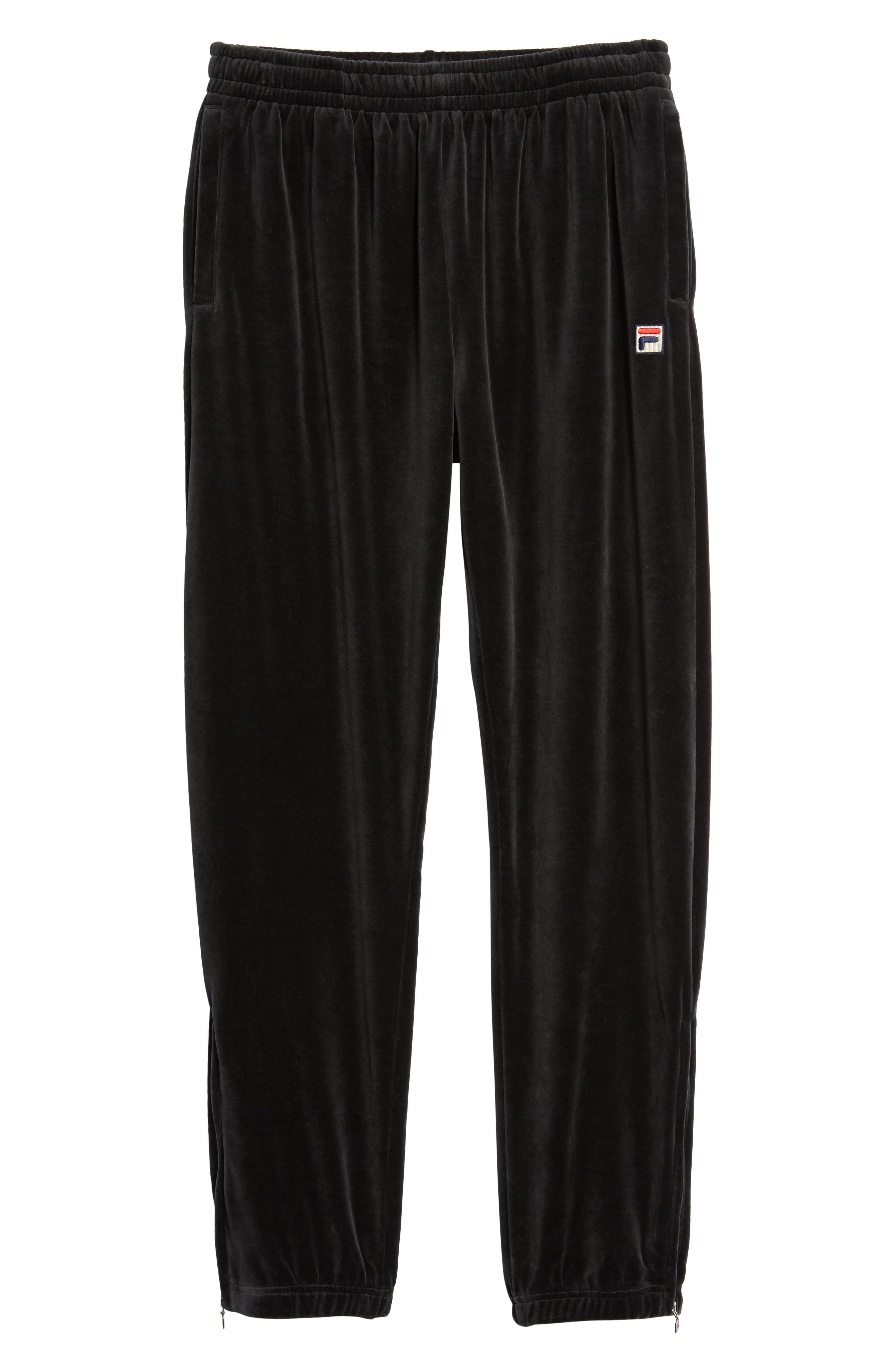 USA Slim Fit Velour Track Pants,                             Alternate thumbnail 6, color,                             001
