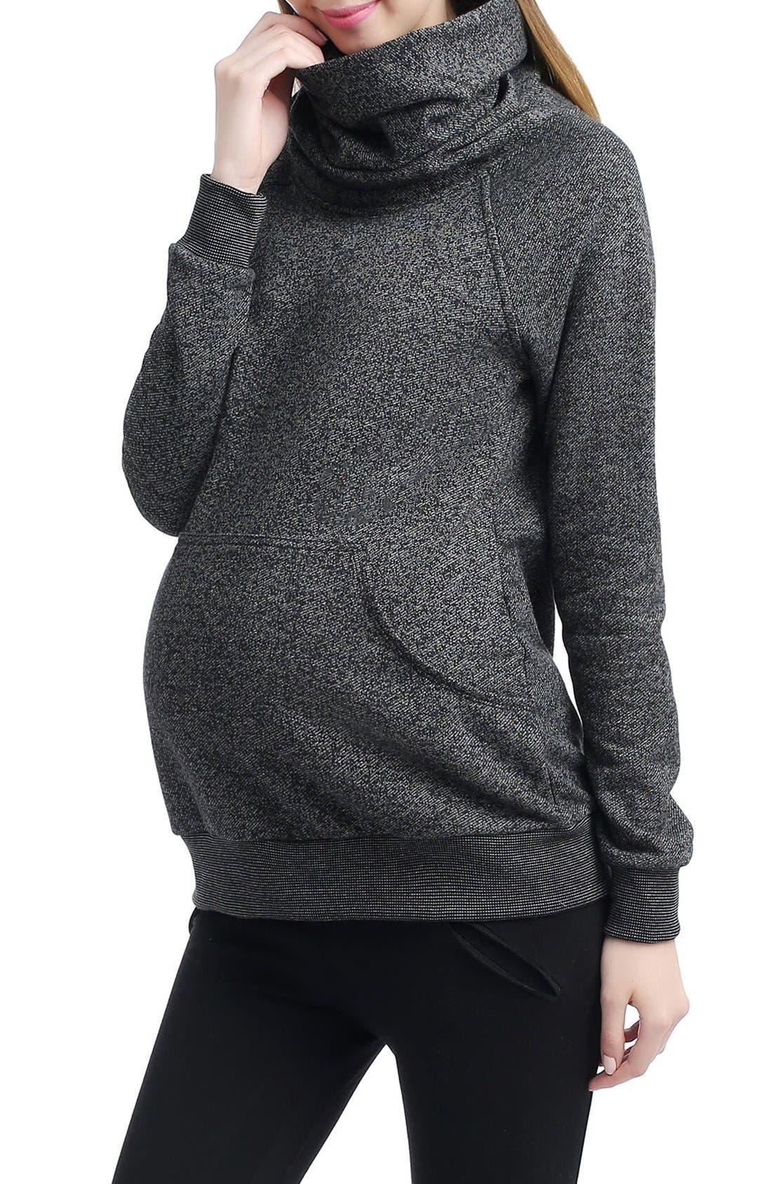 'Thea' Zip Collar Maternity Sweatshirt,                             Alternate thumbnail 3, color,                             BLACK