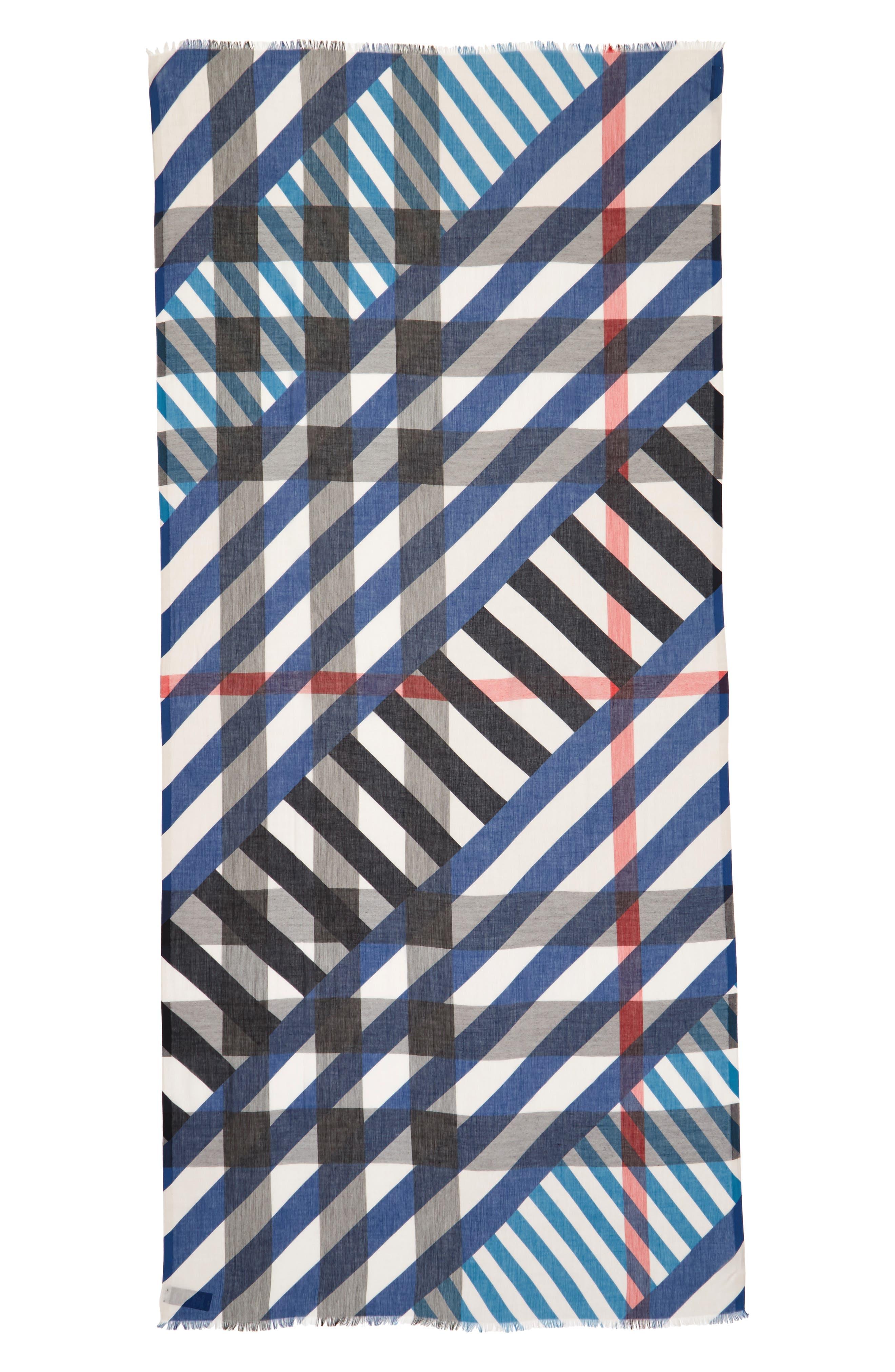 Stripe & Check Scarf,                             Alternate thumbnail 3, color,