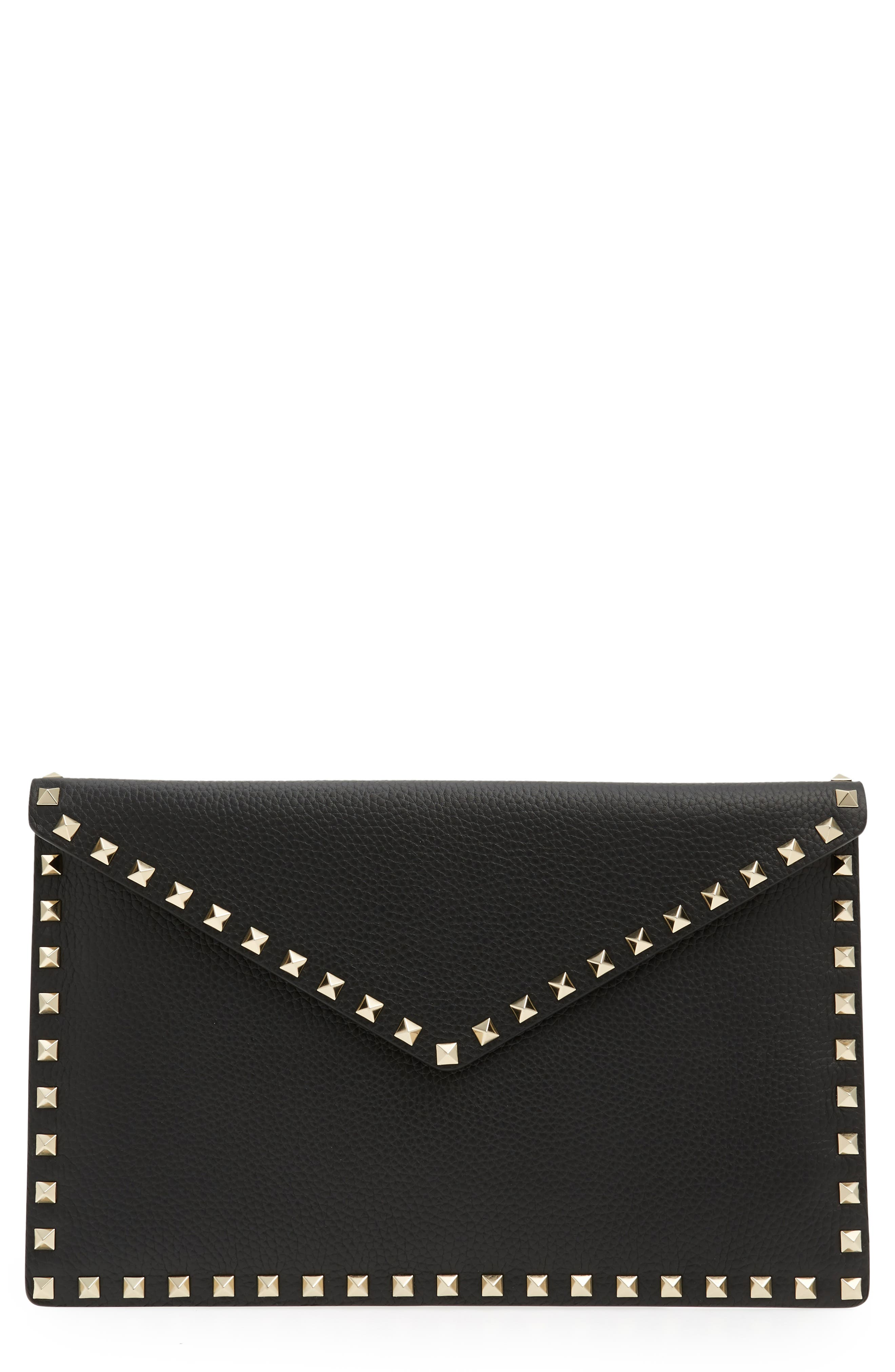Large Rockstud Leather Pouch,                             Main thumbnail 1, color,                             NERO