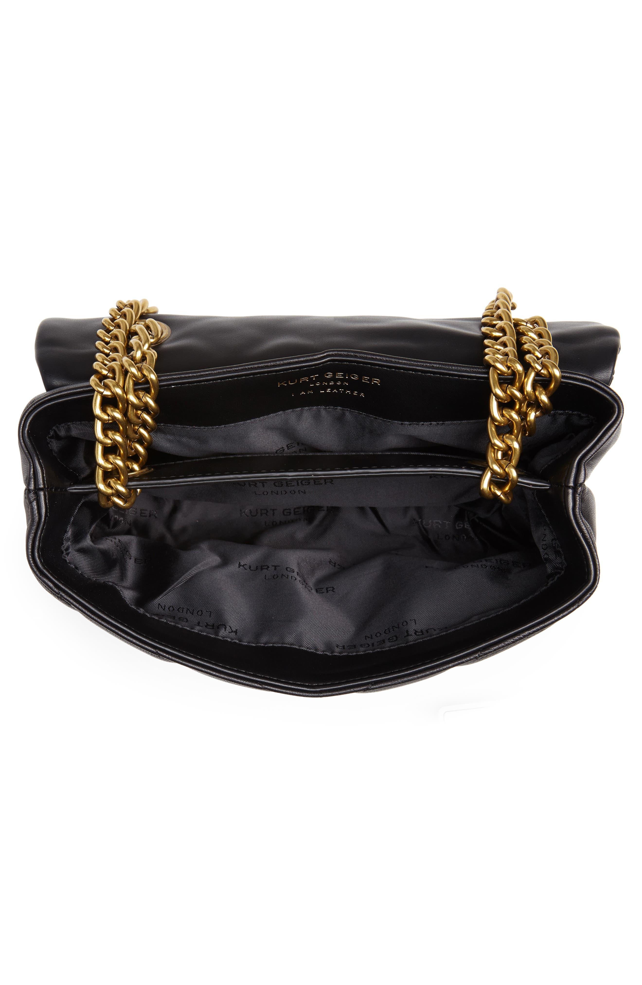 KURT GEIGER LONDON,                             Kensington Quilted Leather Shoulder Bag,                             Alternate thumbnail 4, color,                             BLACK