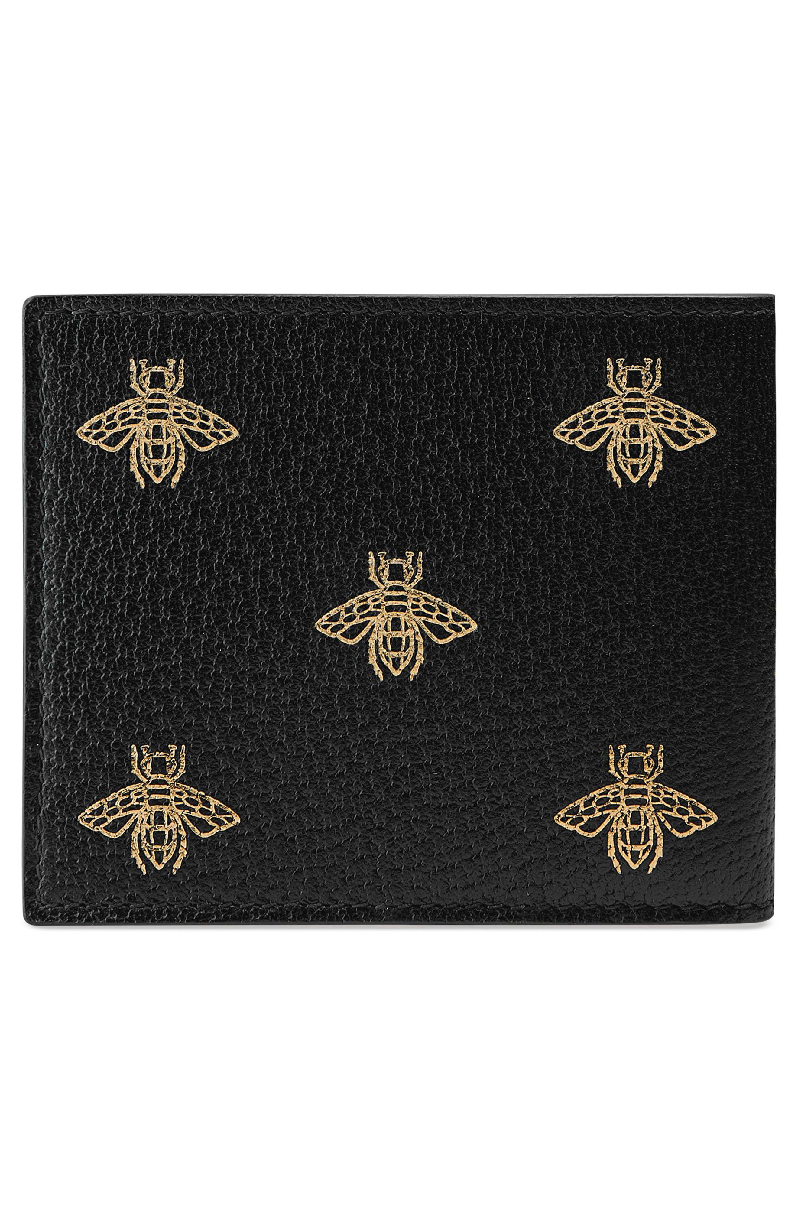 Bee Leather Wallet,                             Alternate thumbnail 3, color,                             001