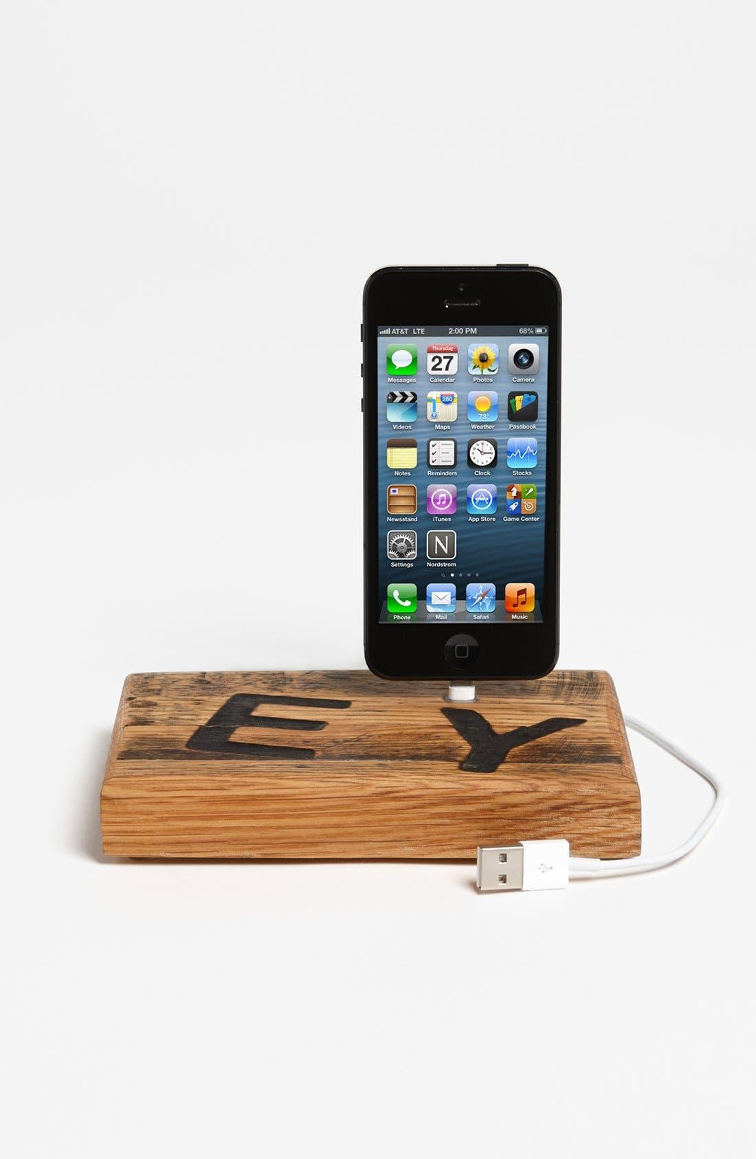 Repurposed Oak Whiskey Barrel iPhone 5 Dock,                         Main,                         color,
