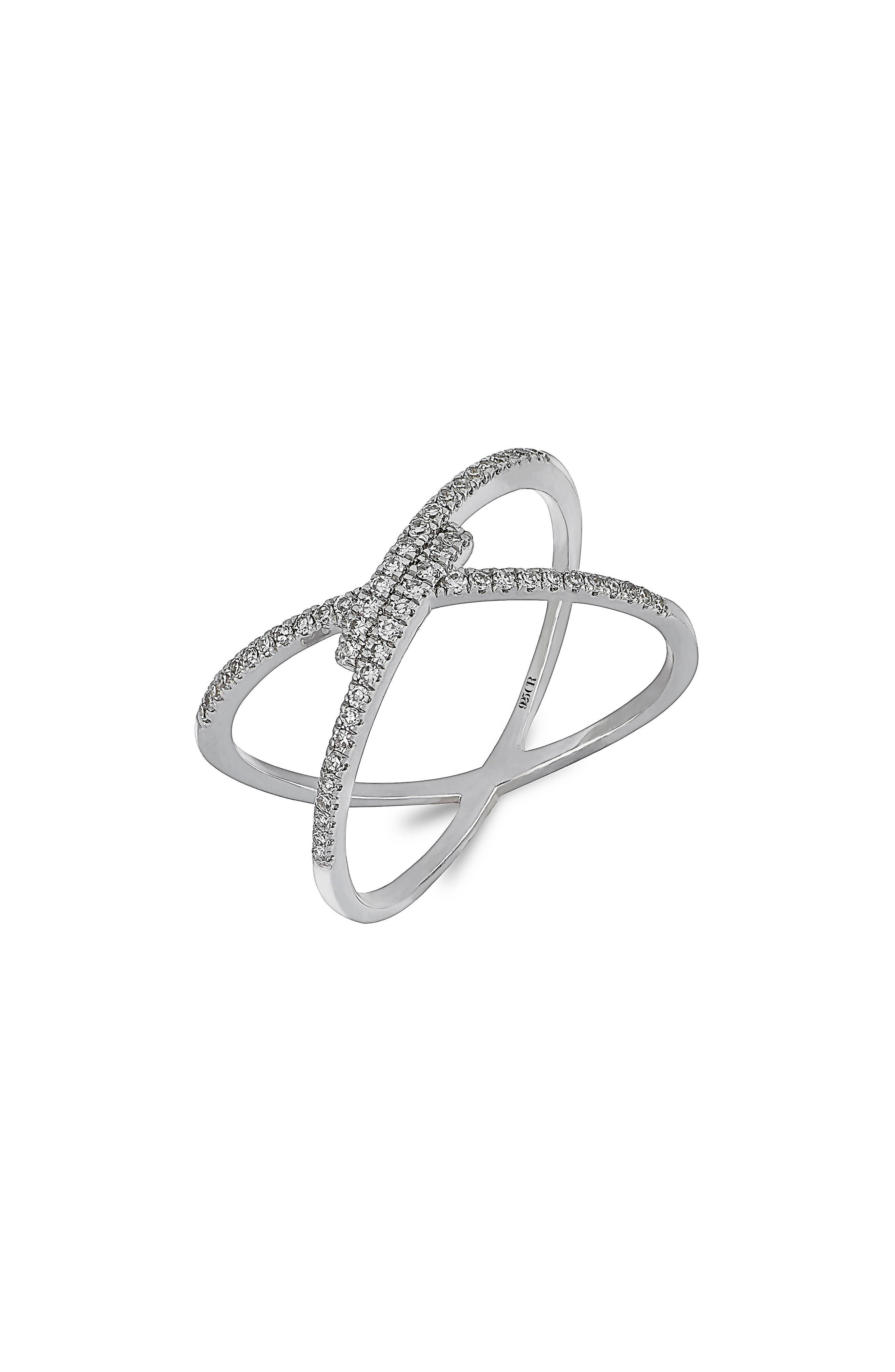 Carrière Crossover Diamond Ring,                         Main,                         color, 040