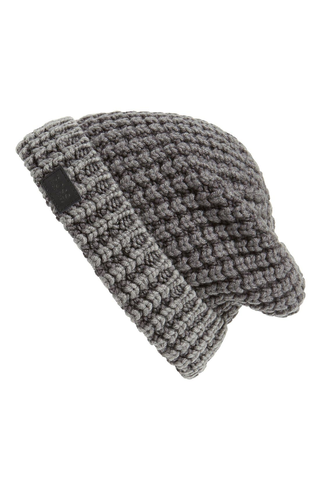 BOSS,                             HUGO BOSS 'Bloshy' Rib Knit Beanie,                             Main thumbnail 1, color,                             037