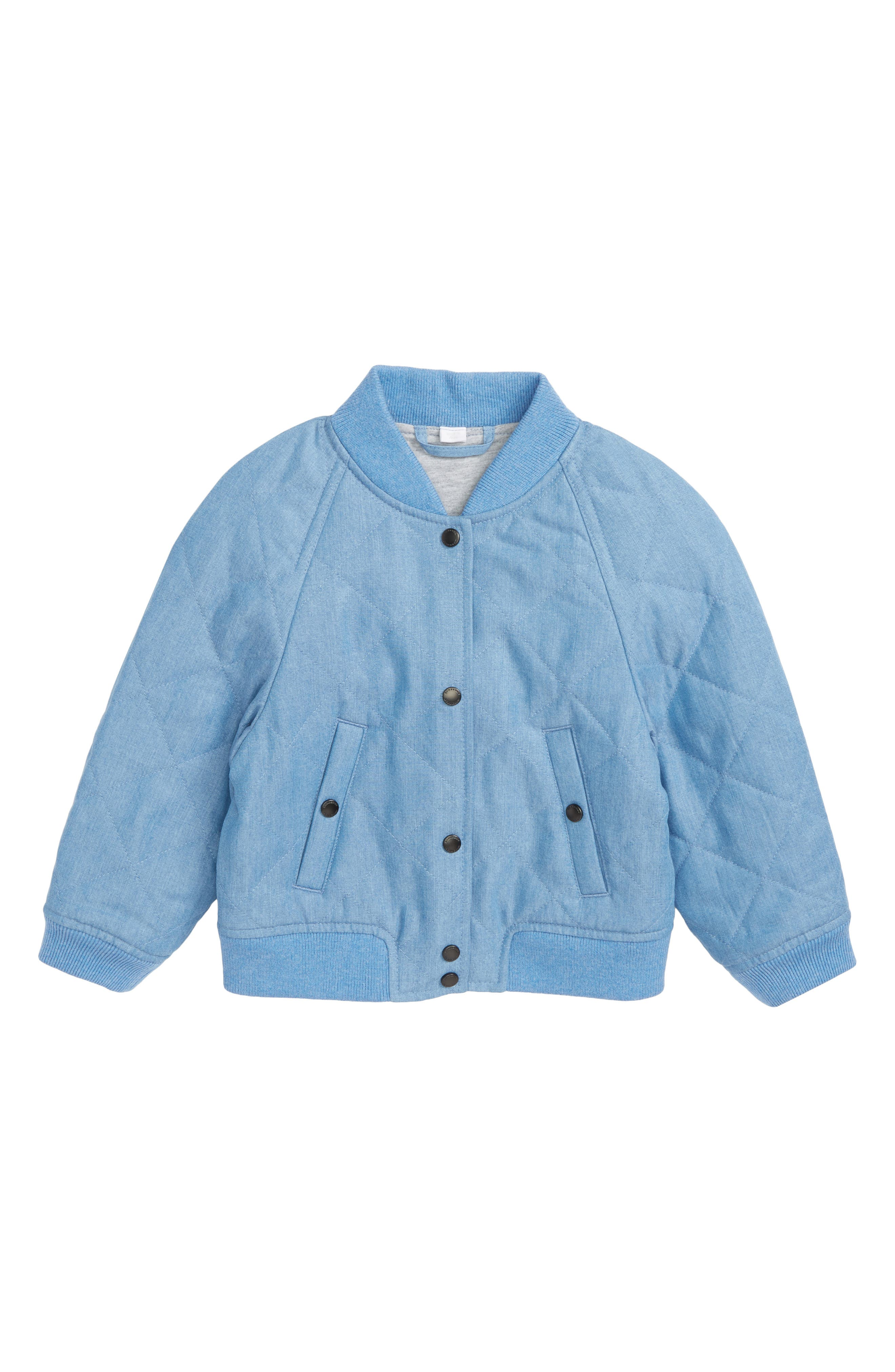 Joelle Quilted Denim Bomber Jacket,                             Main thumbnail 1, color,                             409