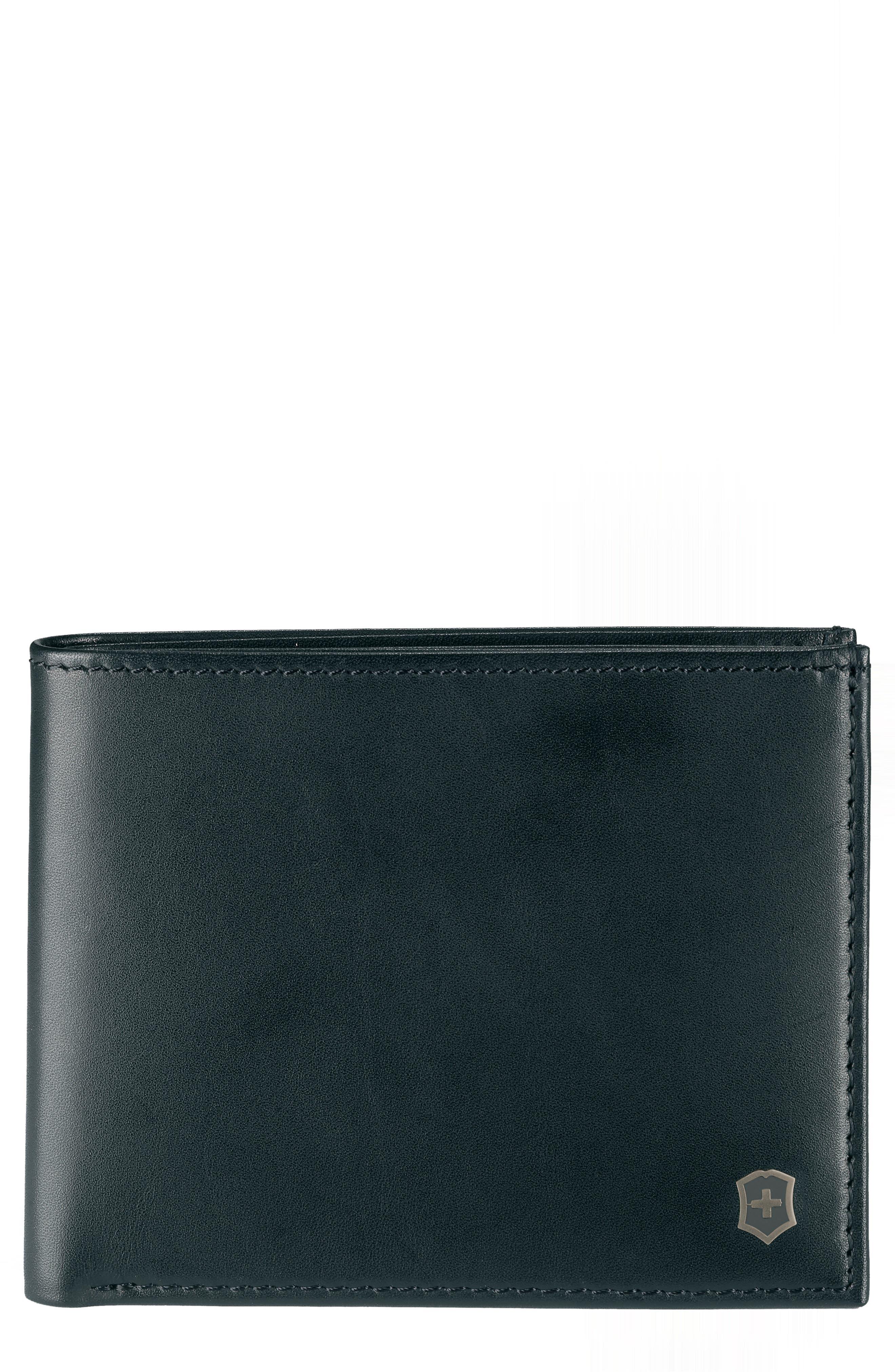 Altius Edge Appolonios RFID Leather Wallet,                             Main thumbnail 1, color,                             BLACK