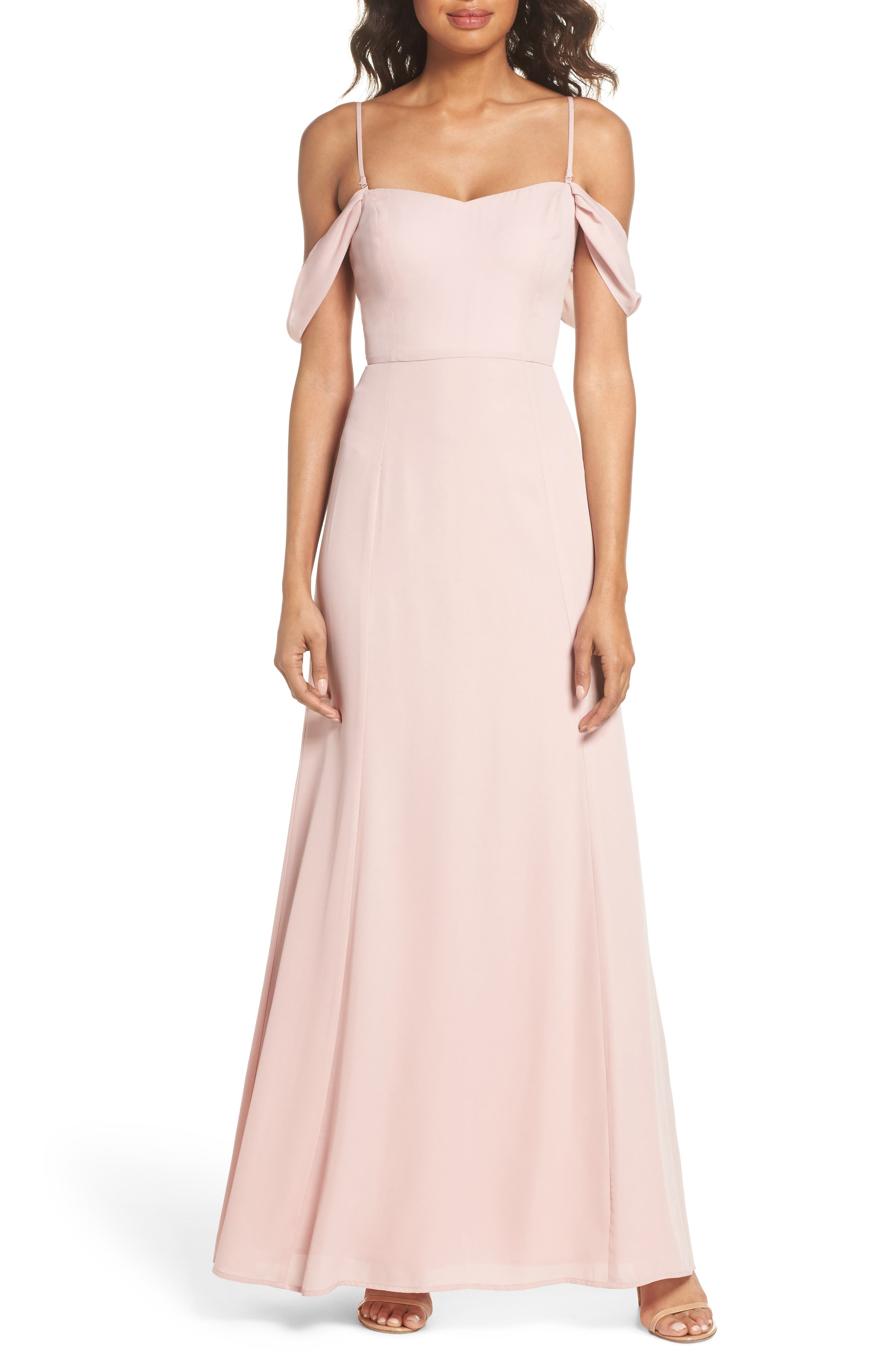 Rachel Off the Shoulder Gored Maxi Dress,                             Alternate thumbnail 7, color,