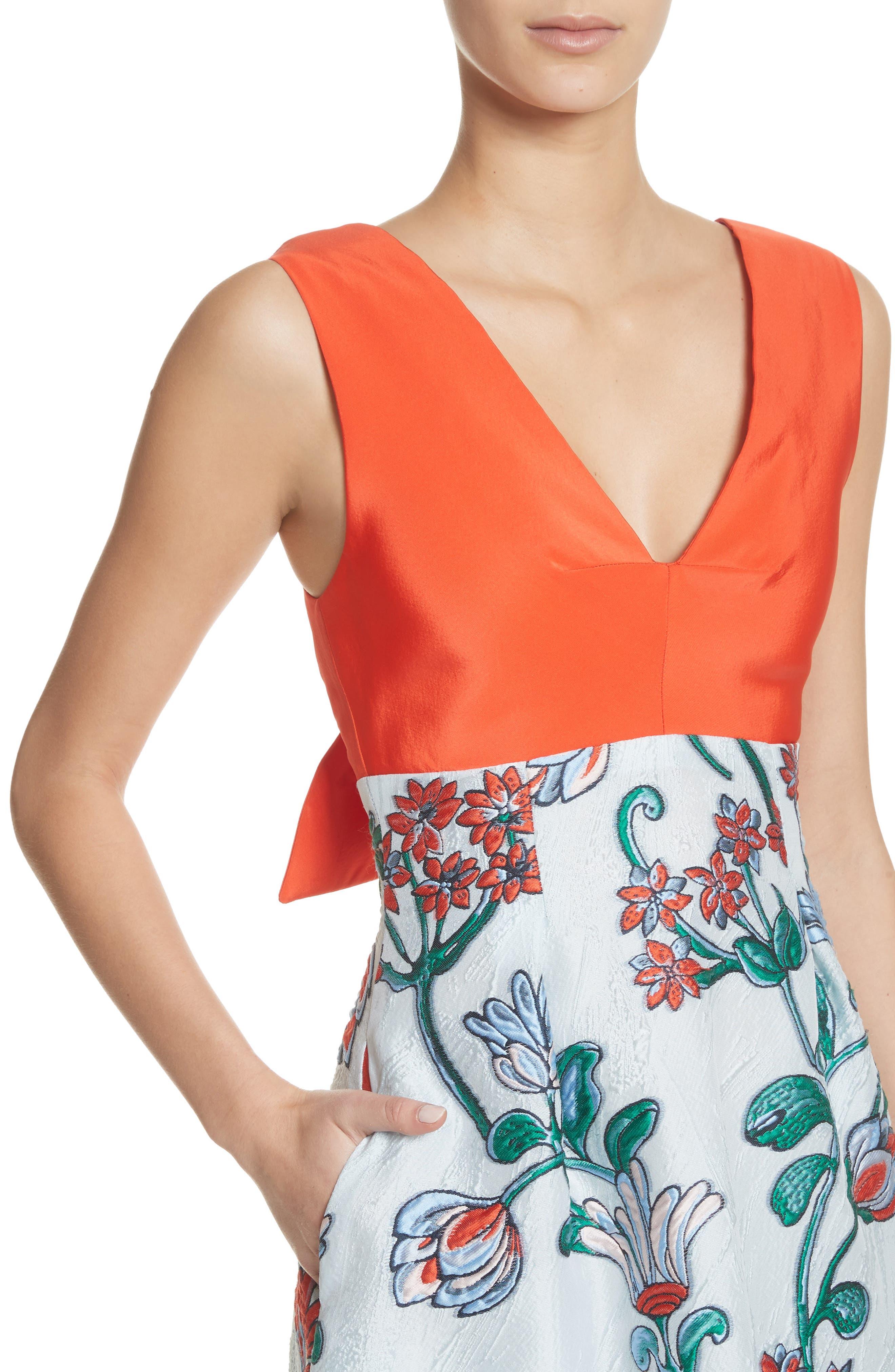 Tie Back Midi Dress,                             Alternate thumbnail 4, color,                             451