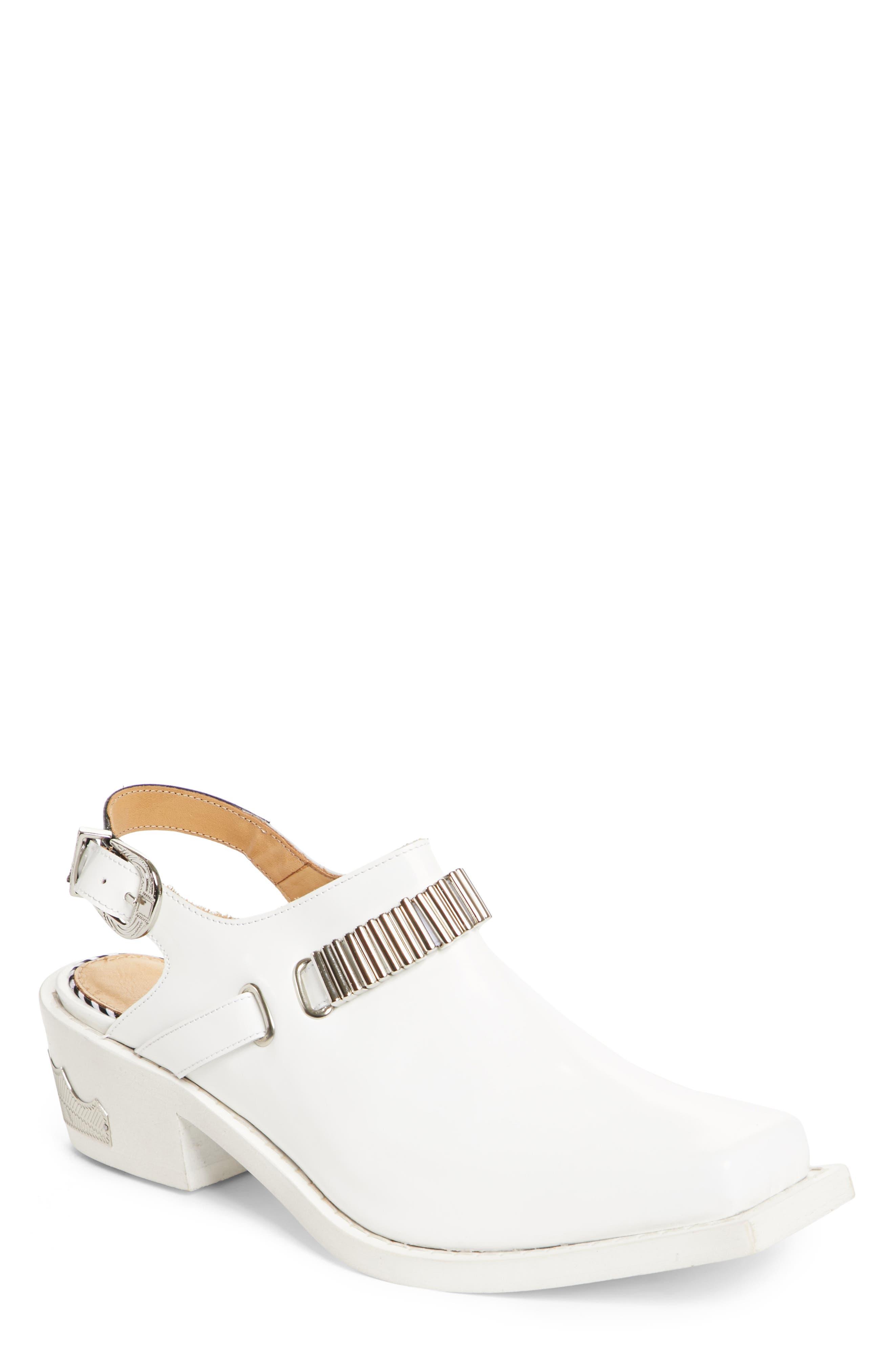 Embellished Slingback Shoe,                             Main thumbnail 1, color,                             WHITE POLIDO