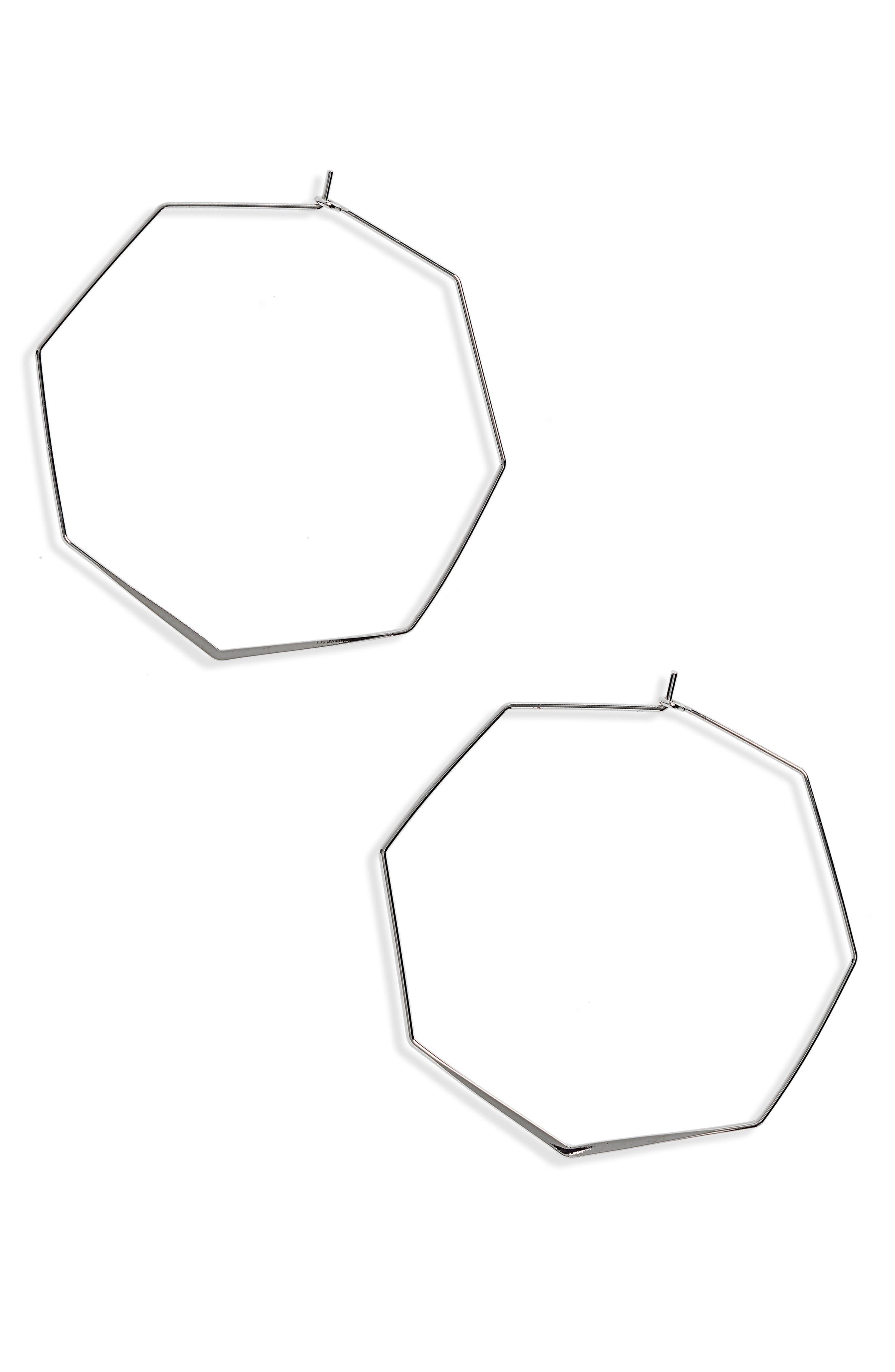 Hexagon Hoop Earrings,                         Main,                         color, 040
